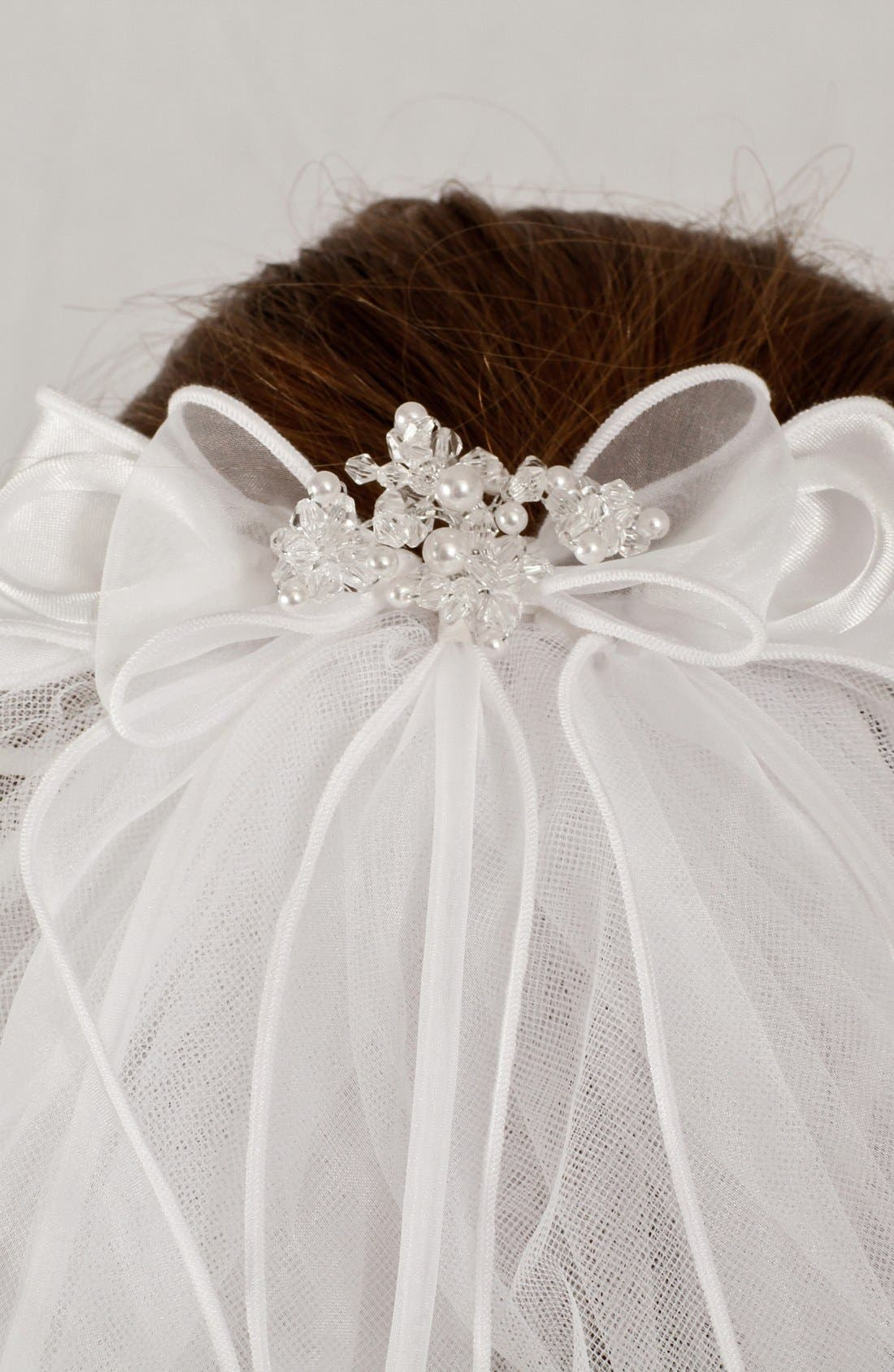 Alternate Image 2  - Lauren Marie Organza Bow Veil (Girls)