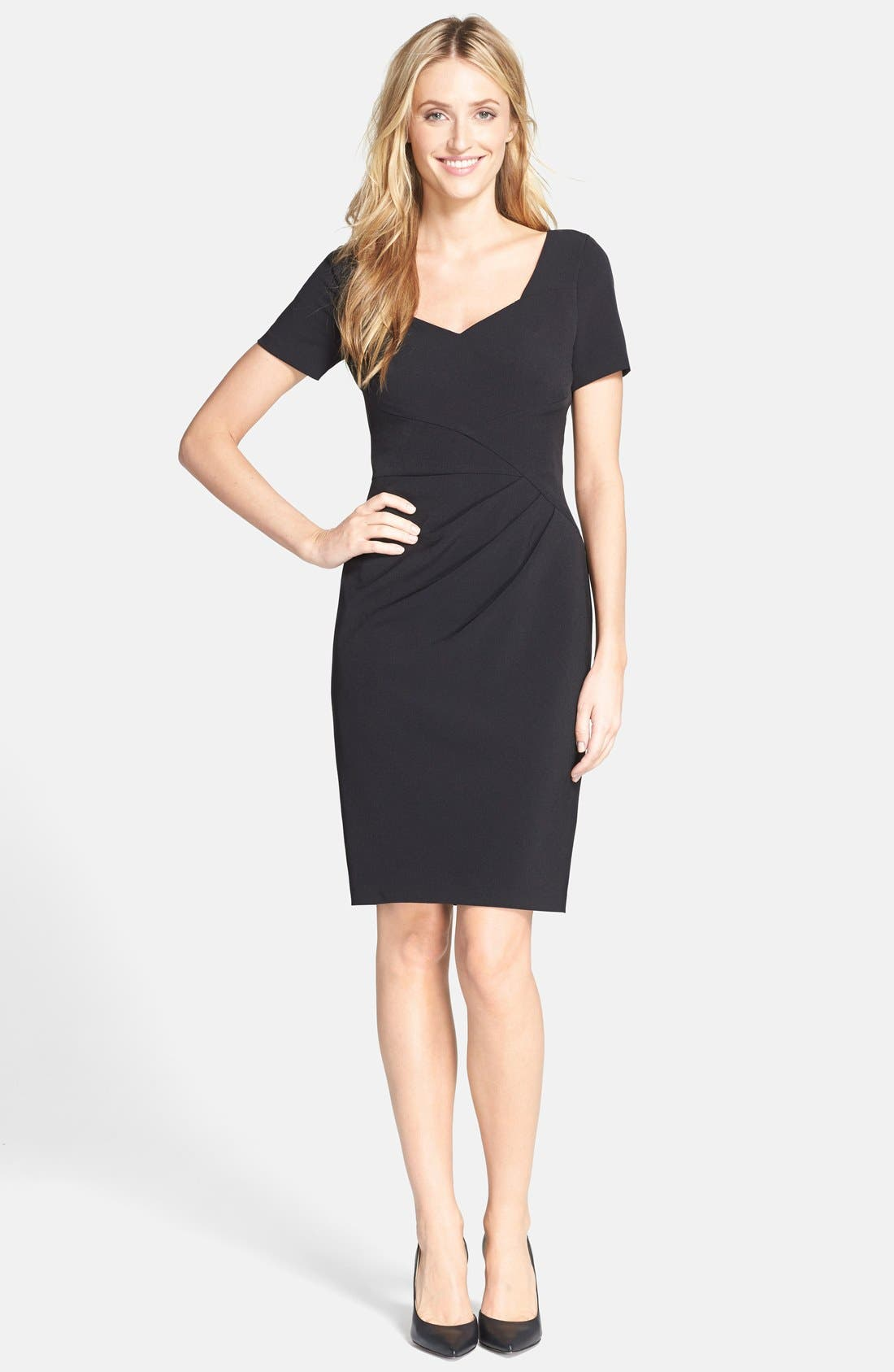 Alternate Image 2  - Adrianna Papell Pleated Crepe Sheath Dress