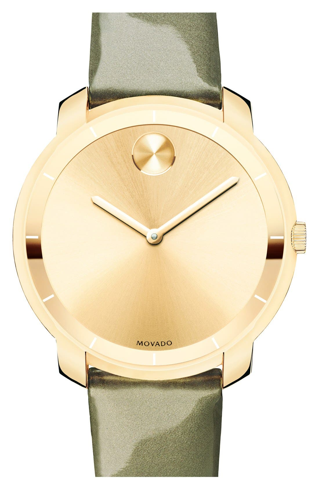 Main Image - Movado 'Bold' Round Patent Leather Strap Watch, 36mm