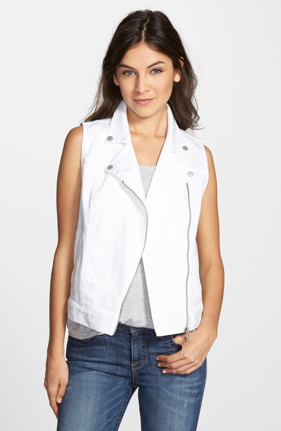 Alternate Image 1 Selected - Two by Vince Camuto Denim Moto Vest