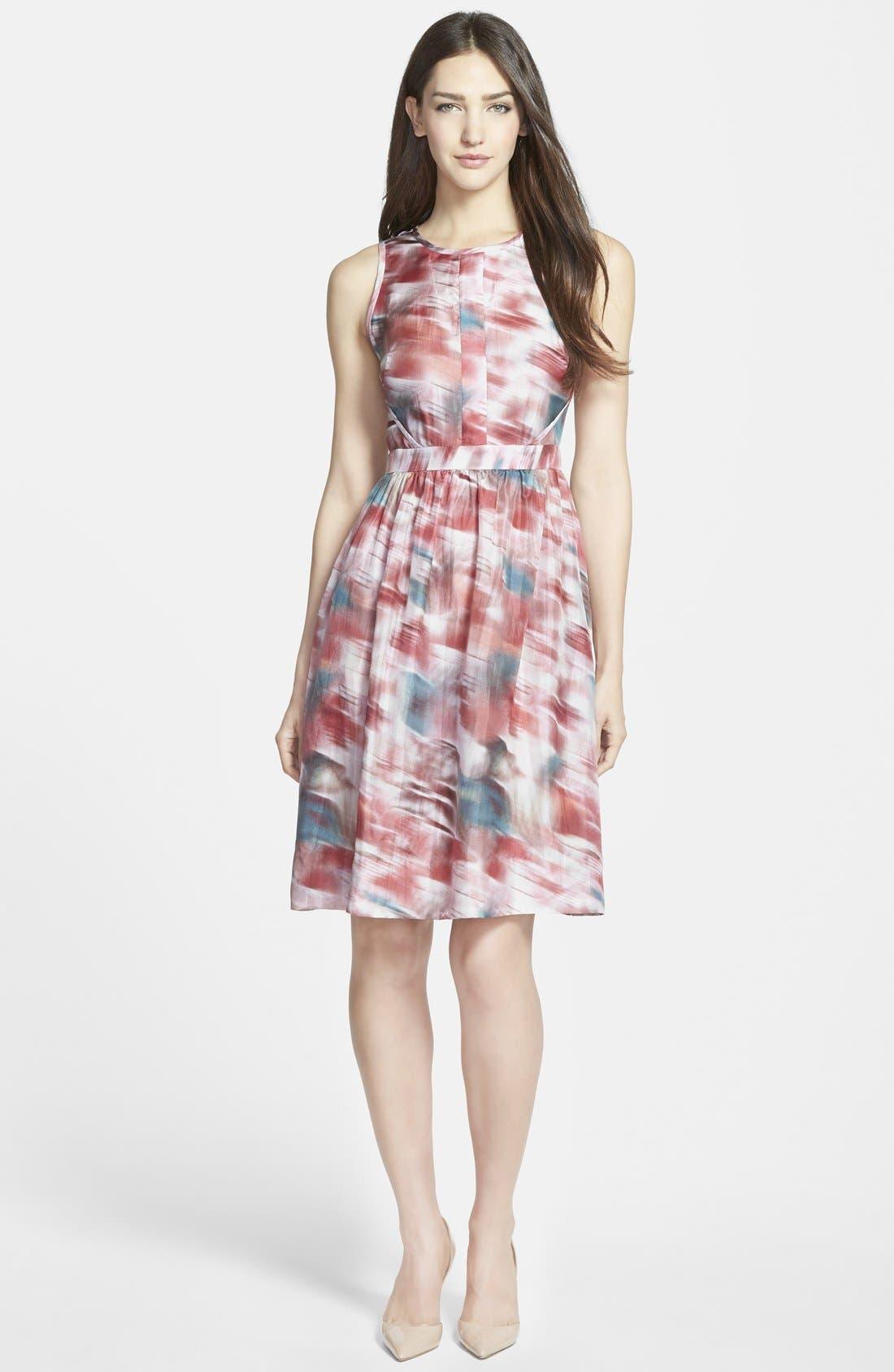 Main Image - Classiques Entier® Print Silk Habotai Fit & Flare Dress