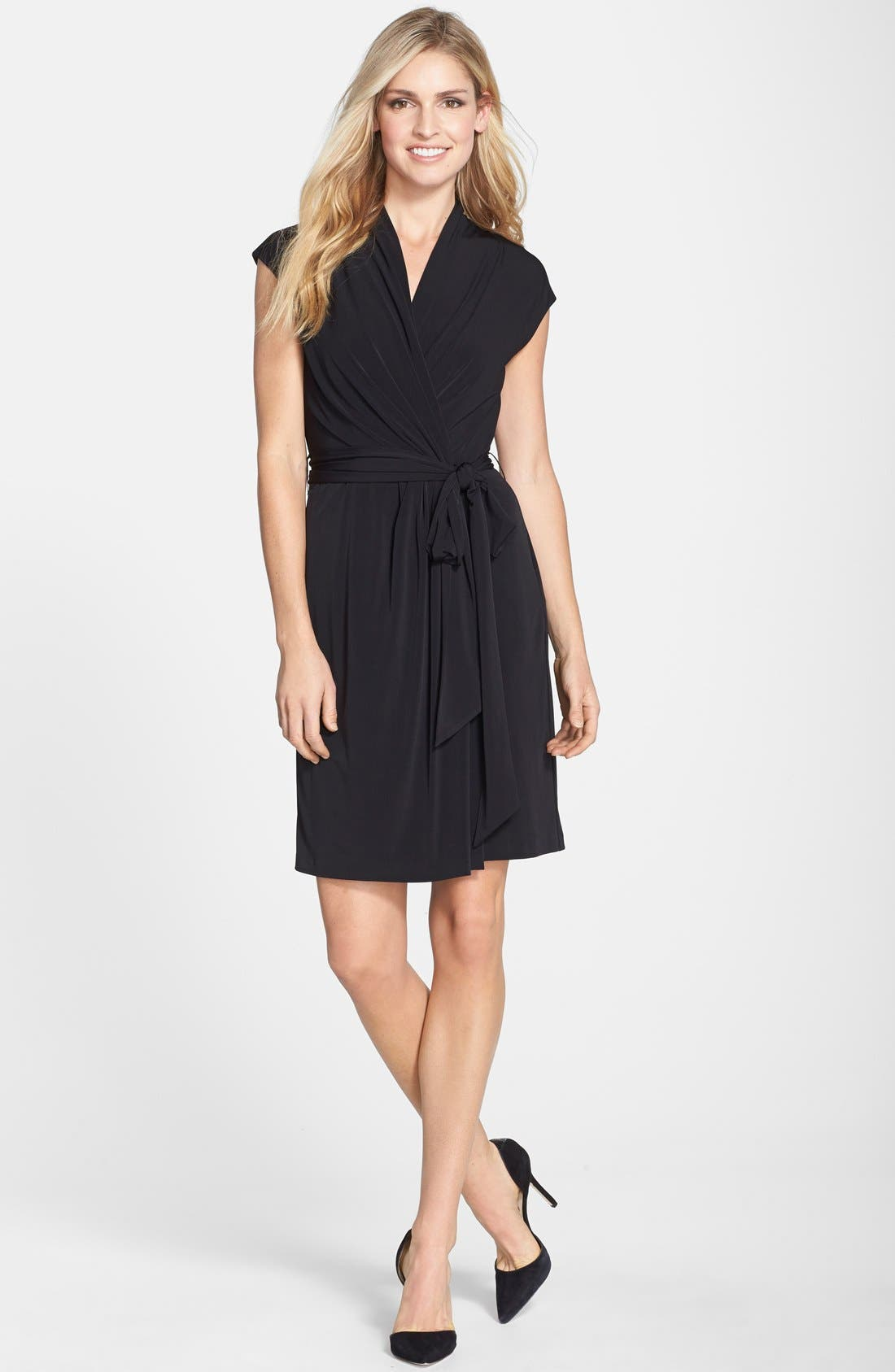 Alternate Image 3  - Eliza J Cap Sleeve Faux Wrap Jersey Dress (Online Only)