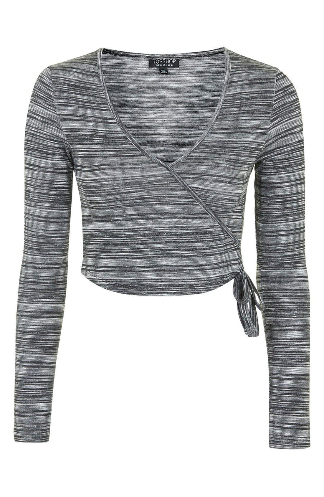 Alternate Image 3  - Topshop Space Dye Wrap Front Top