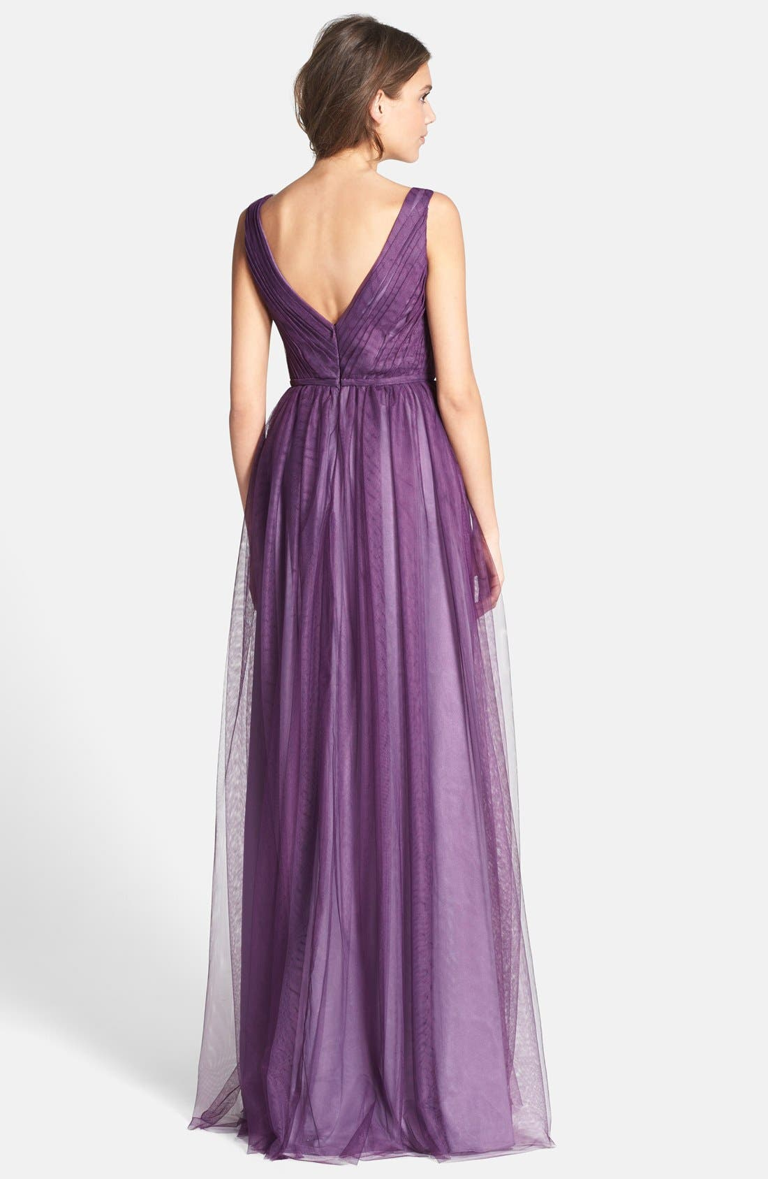 Alternate Image 2  - Monique Lhuillier Bridesmaids Pleated Tulle Gown