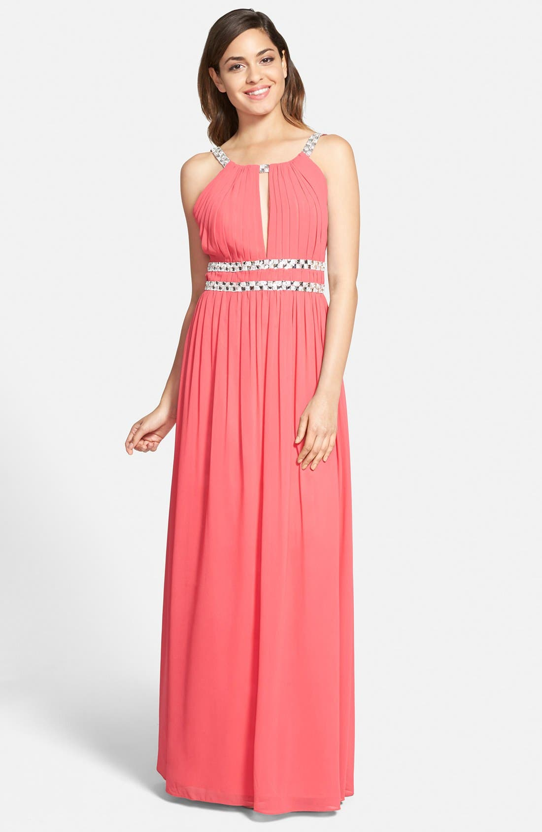 Main Image - a. drea Embellished Keyhole Gown (Juniors)
