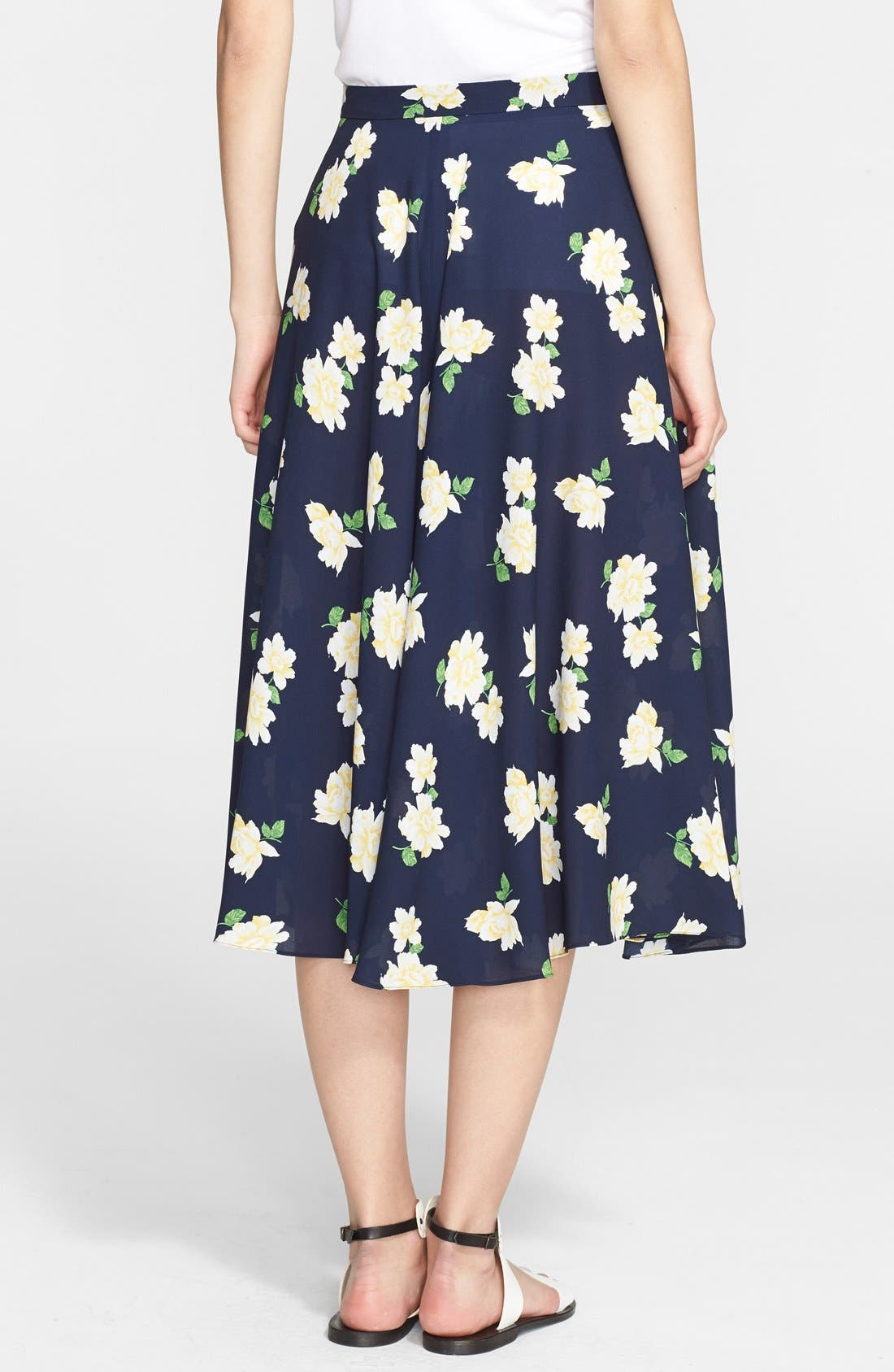 Alternate Image 2  - Michael Kors Floral Print Silk Georgette Circle Skirt