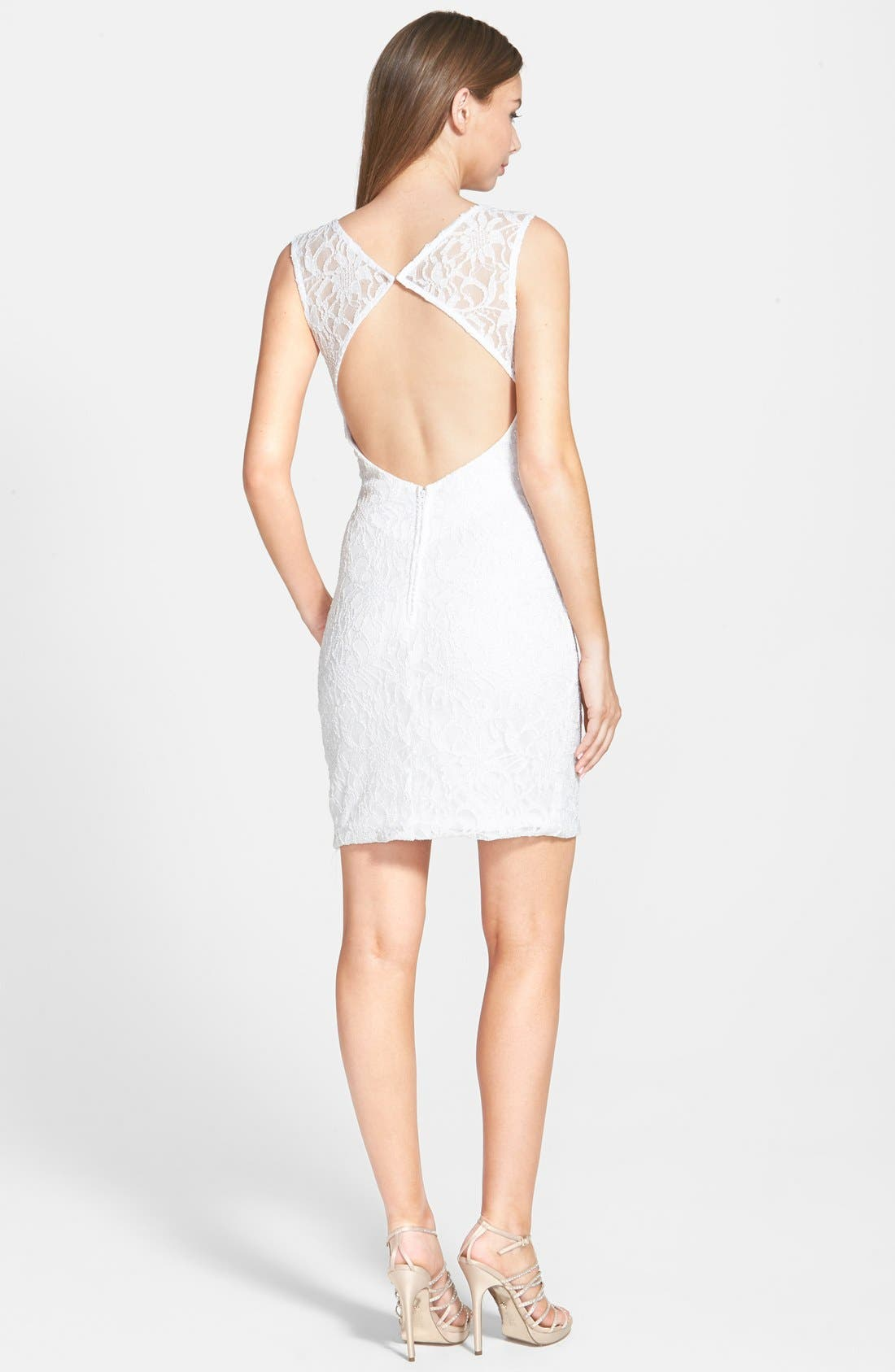 Alternate Image 2  - Way-In Glitter Lace Body-Con Dress (Juniors)