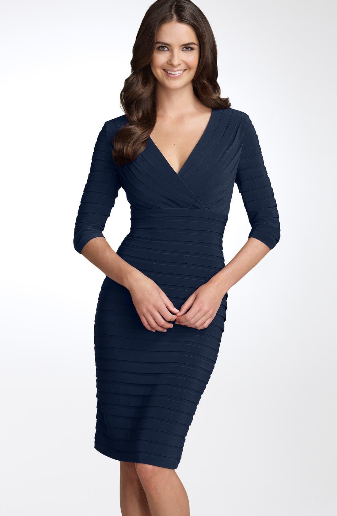 Alternate Image 1 Selected - Adrianna Papell Pleated Jersey Sheath Dress (Regular & Petite)