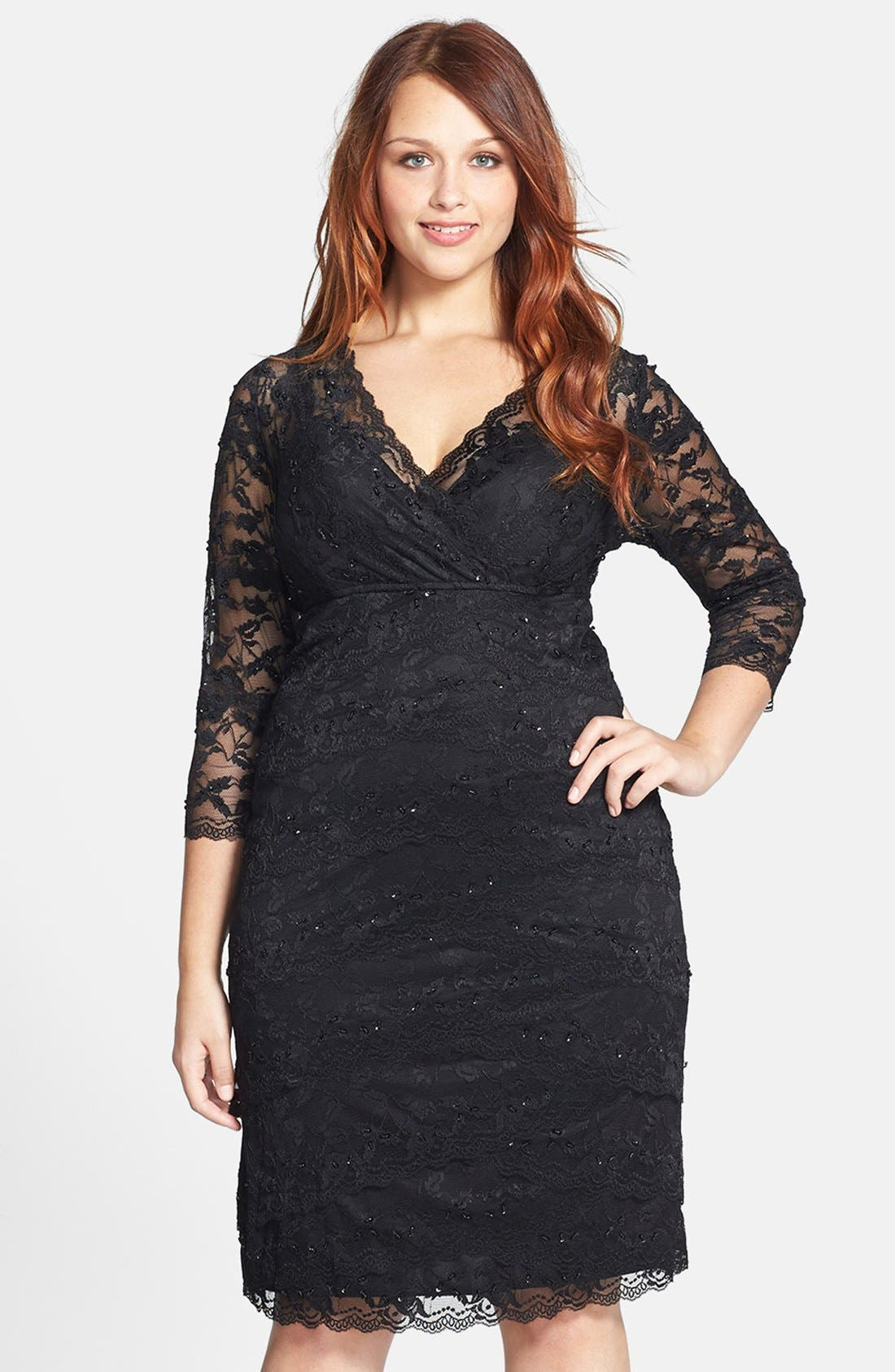 MARINA Embellished Three Quarter Sleeve Lace Dress
