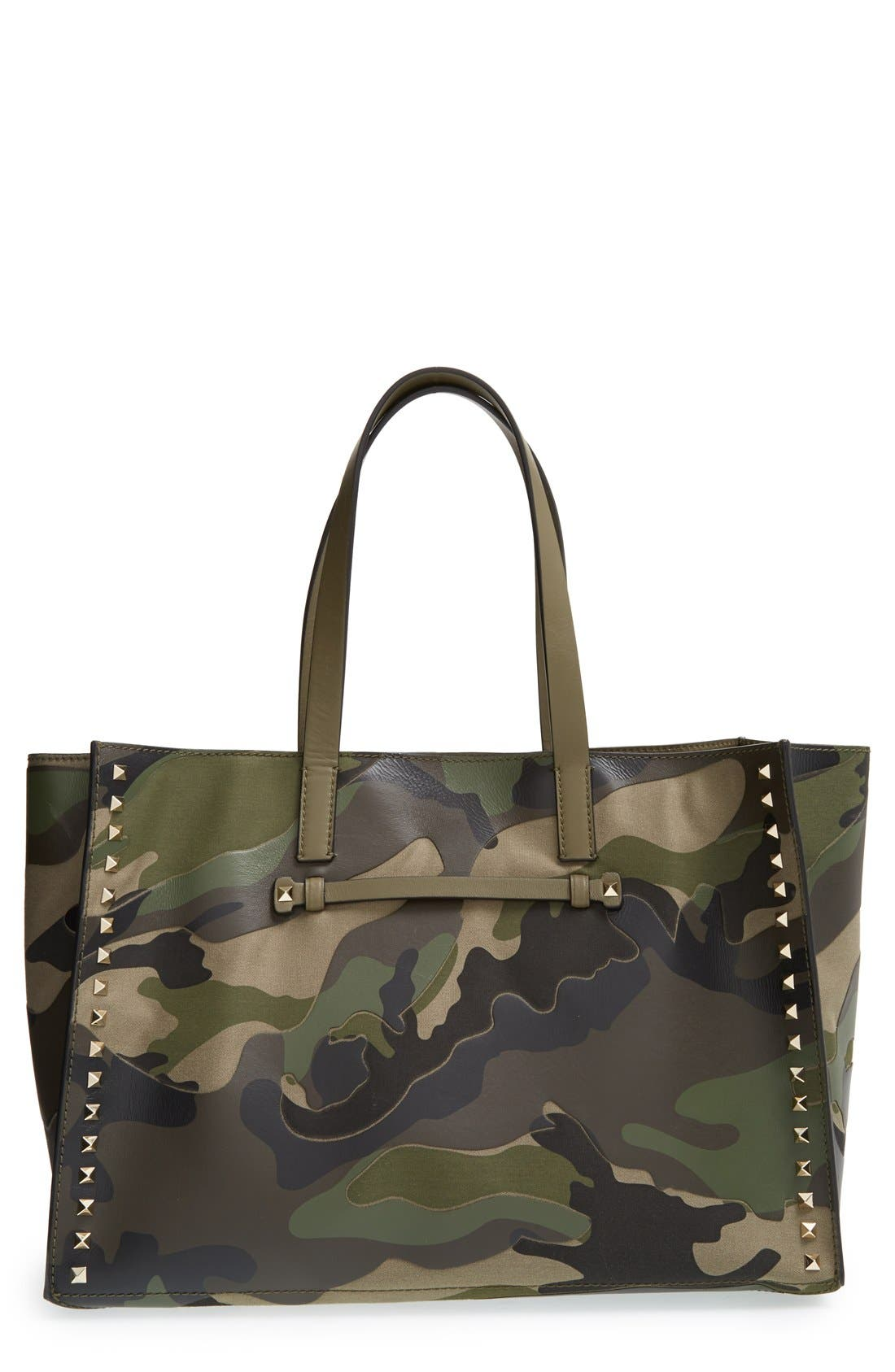 Alternate Image 1 Selected - Valentino Rockstud Canvas & Leather Camo Tote