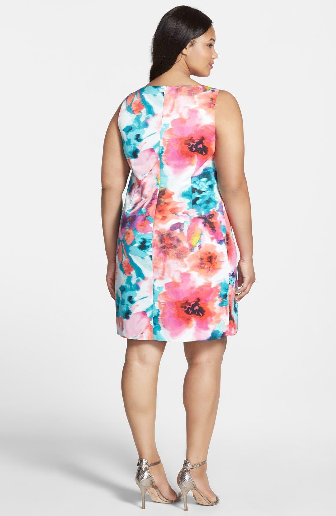 Alternate Image 2  - Eliza J Floral Print Sheath Dress (Plus Size)