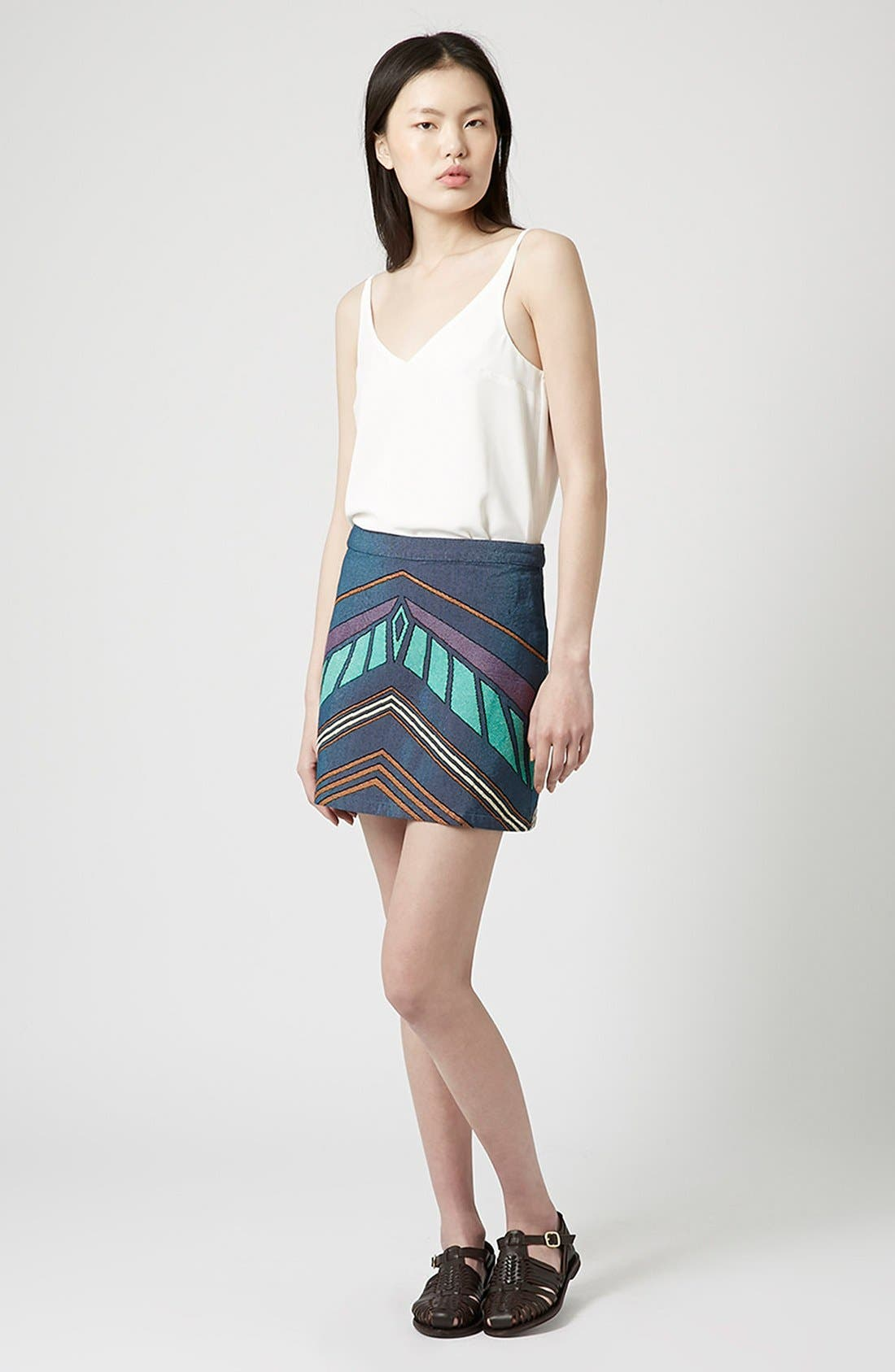 Alternate Image 3  - Topshop Chevron Print A-Line Skirt