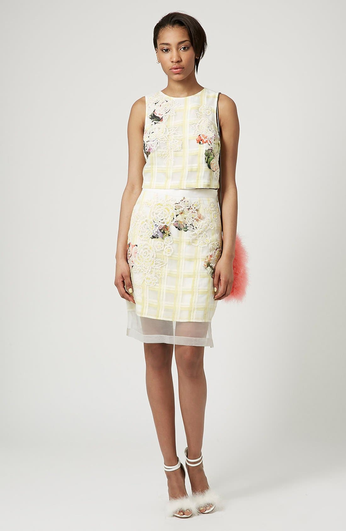 Alternate Image 5  - Topshop Flower Check A-Line Skirt (Limited Edition)
