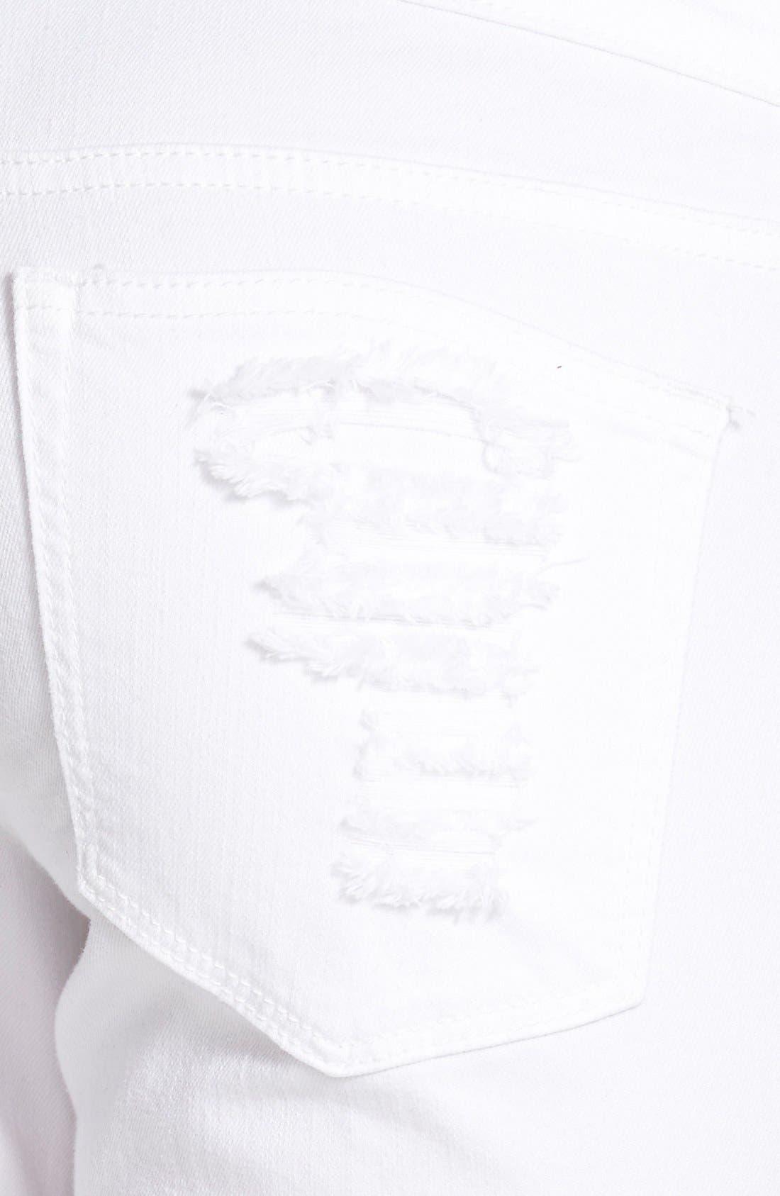 Alternate Image 3  - SP Black Distressed Skinny Jeans (White)