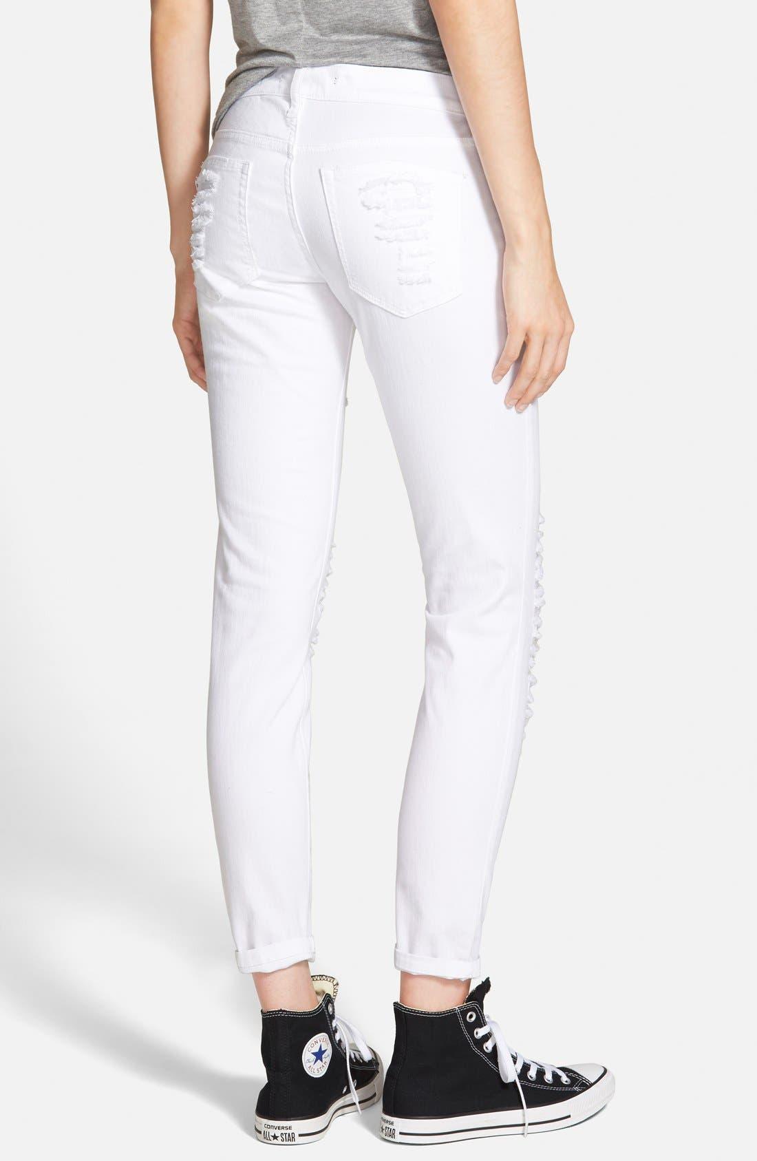 Alternate Image 2  - SP Black Distressed Skinny Jeans (White)