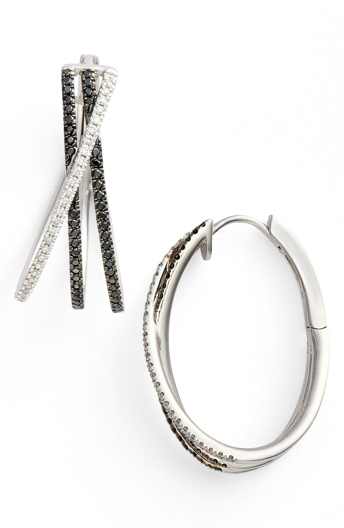 BONY LEVY 3-Row Crossover Diamond Hoop Earrings