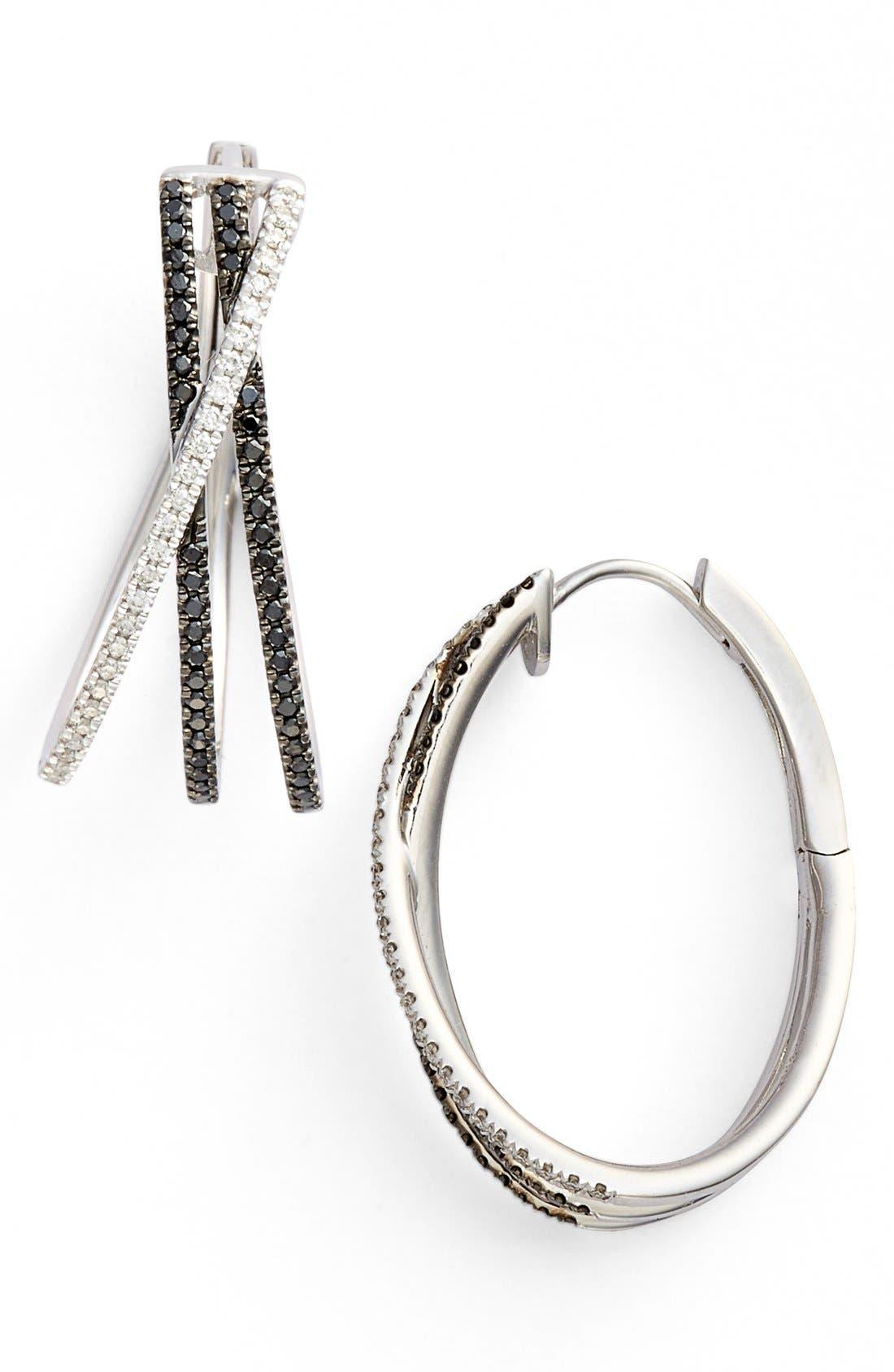 BONY LEVY 3-Row Crossover Diamond Hoop Earrings