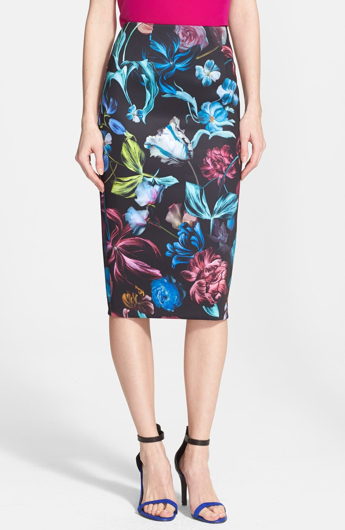 Main Image - Ted Baker London 'Dabah' Floral Print Pencil Skirt