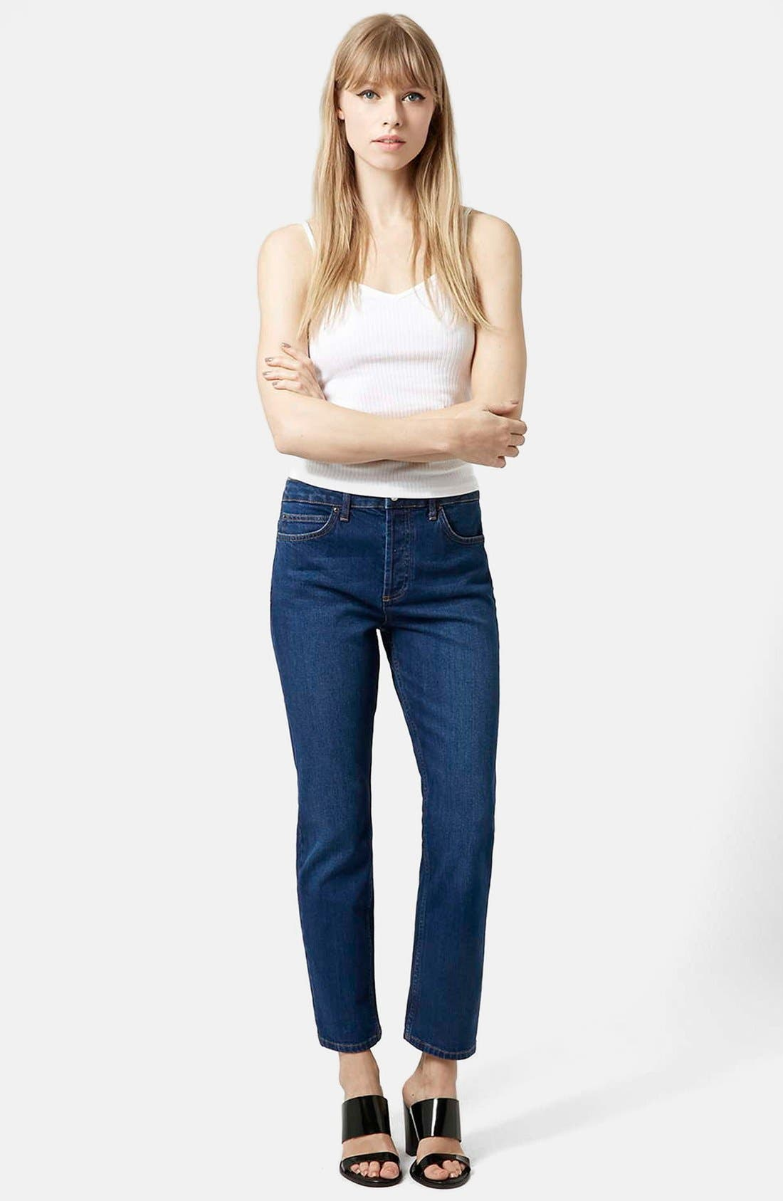 Alternate Image 5  - Topshop Moto Indigo Girlfriend Jeans (Navy Blue)