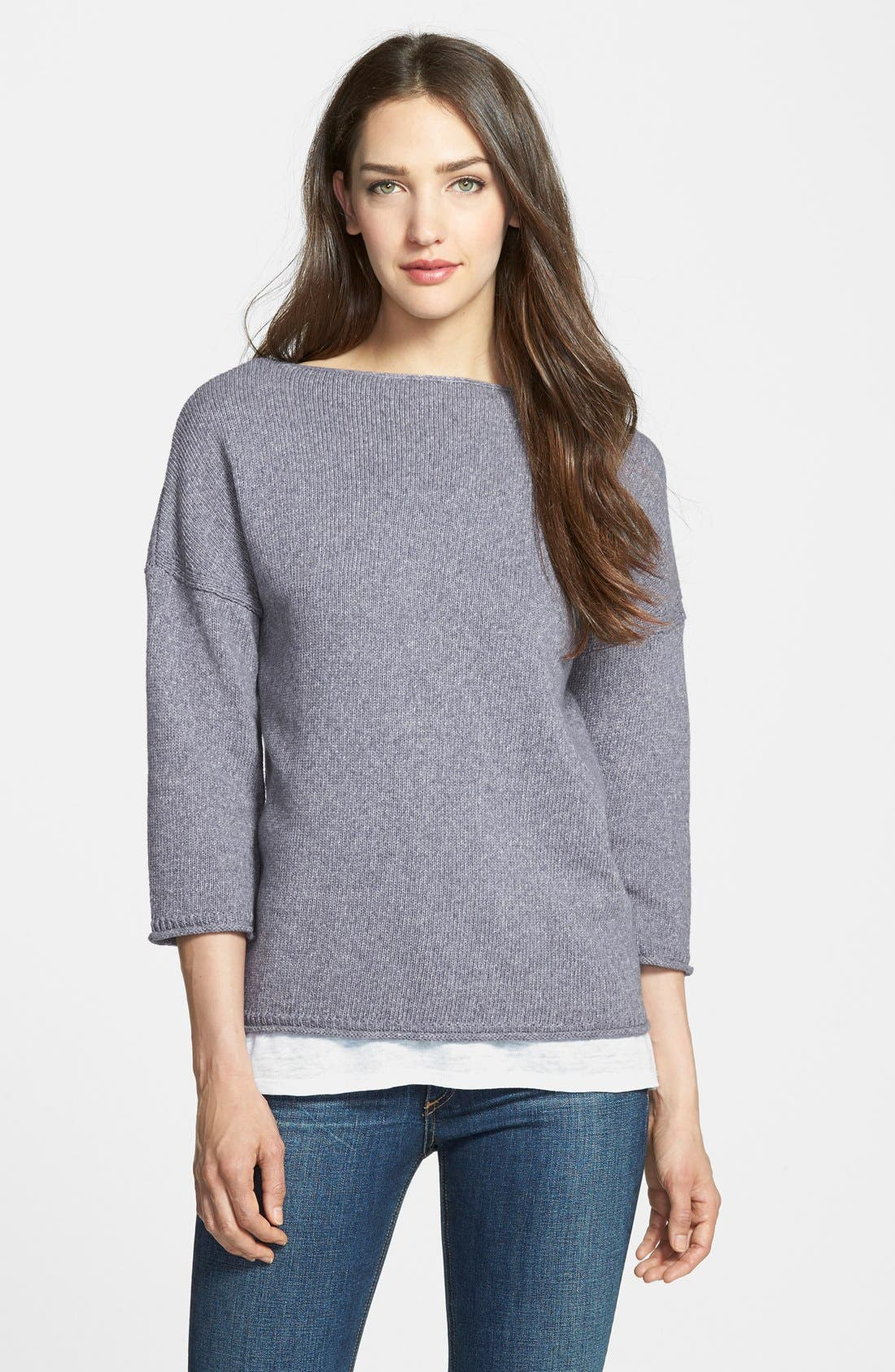 Main Image - Nordstrom Collection 'Lapis' Bateau Neck Pullover