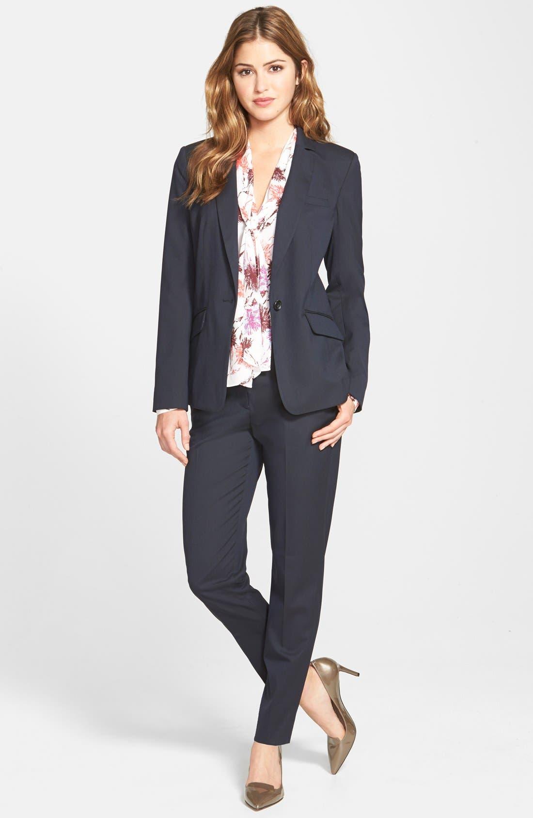 Alternate Image 4  - Halogen® 'Taylor' Lapis Pattern Suit Pants (Regular & Petite)