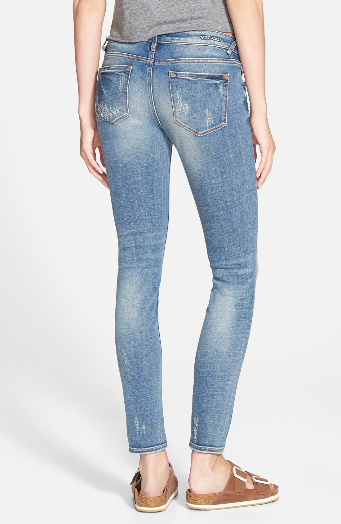 Alternate Image 2  - Vigoss Distressed Skinny Jeans (Light Wash)