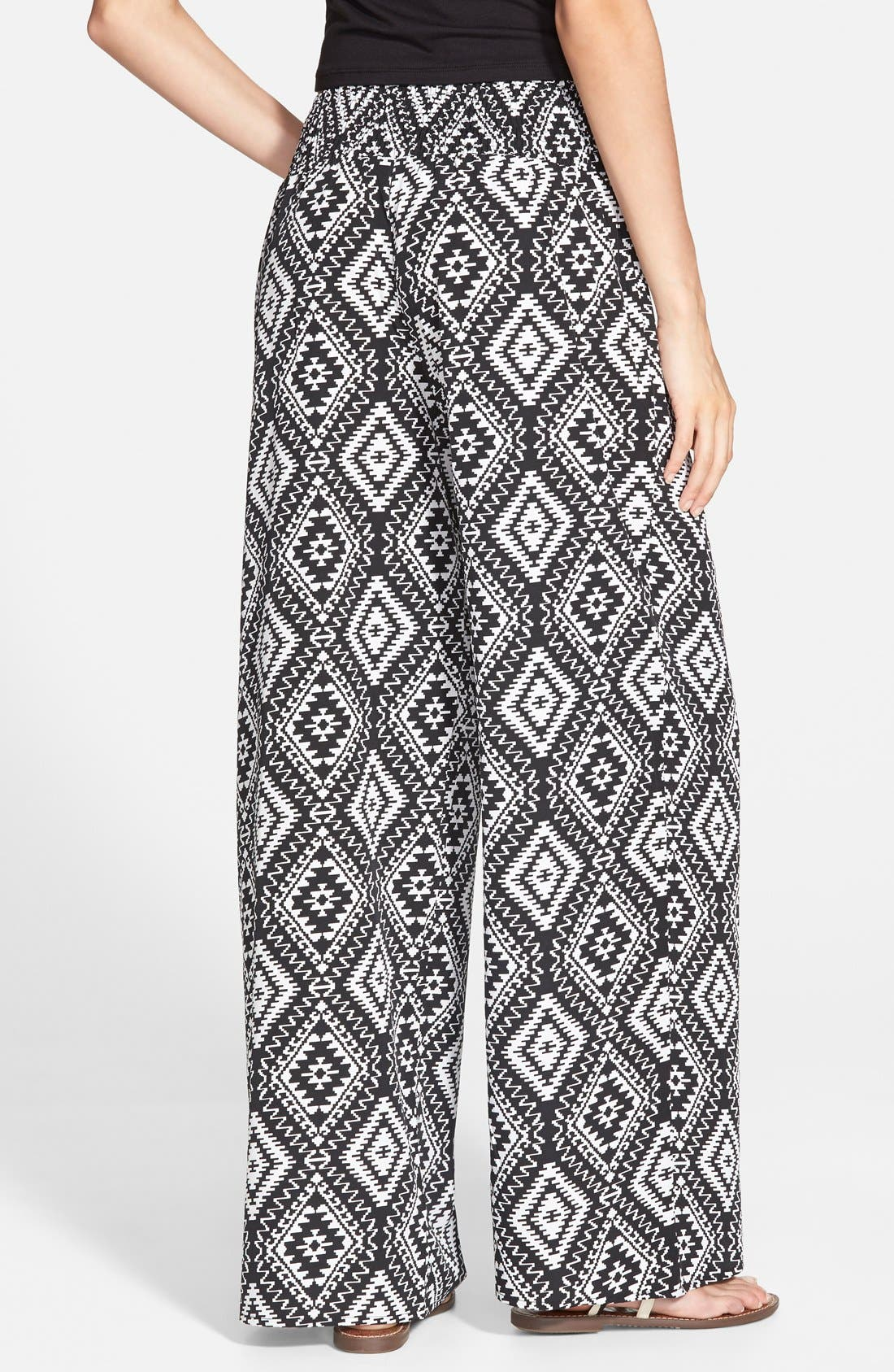 Alternate Image 2  - Zoe and Rose Print Smocked Waist Palazzo Pants