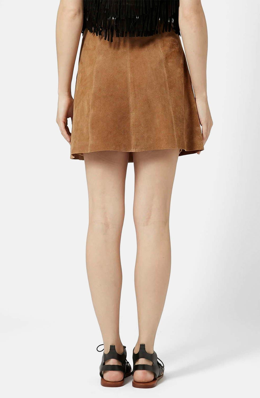 Alternate Image 2  - Topshop Suede A-Line Skirt