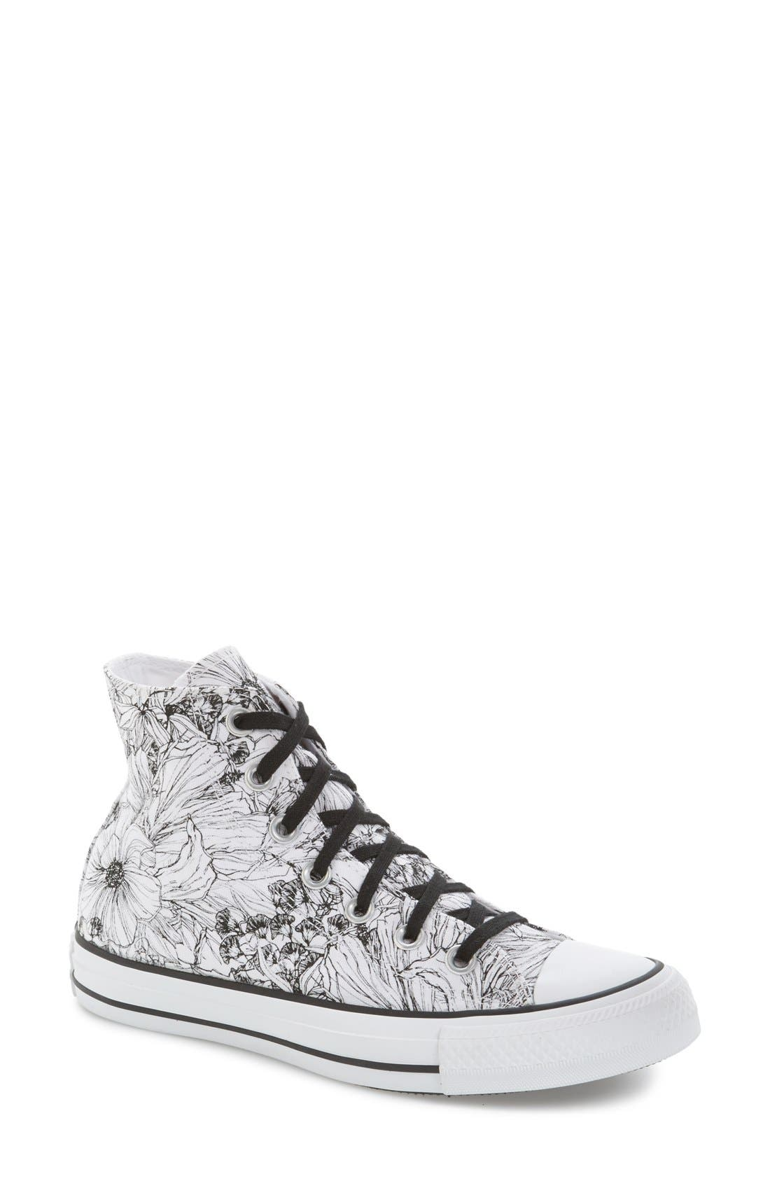 Alternate Image 1 Selected - Converse Chuck Taylor® All Star® Floral Outline High Top Sneaker (Women)