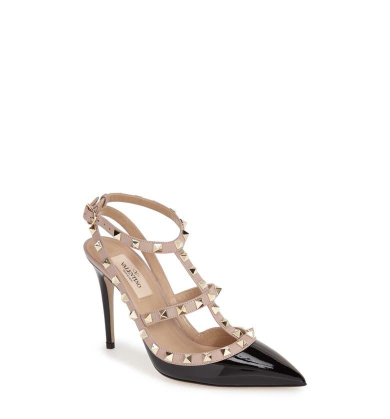 "ee28e9c7e69 Valentino Garavani Navy Leather Pointed Toe ""Rockstud"" Ballerina Flats SZ 38"