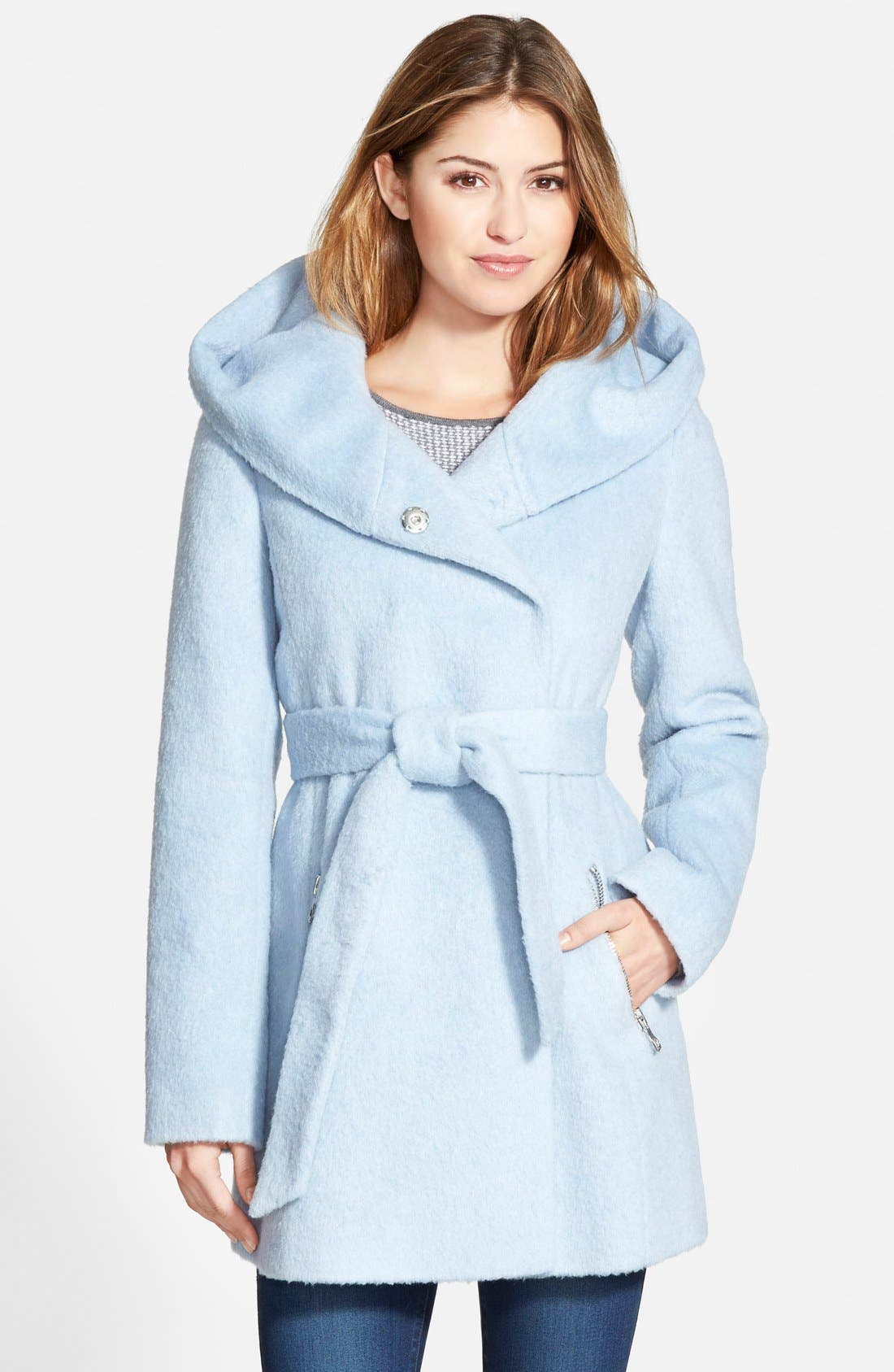 Main Image - GUESS Hooded Shawl Collar Wrap Coat (Online Only)