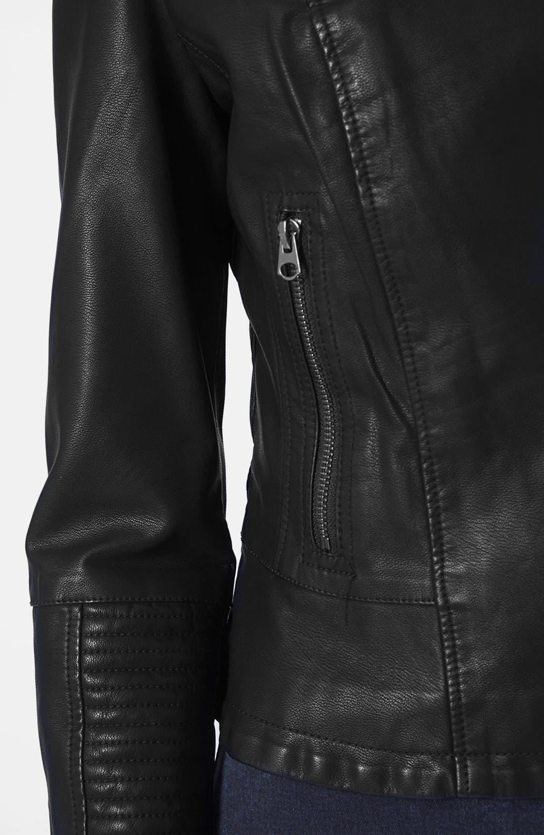 Alternate Image 4  - Topshop Faux Leather Biker Jacket