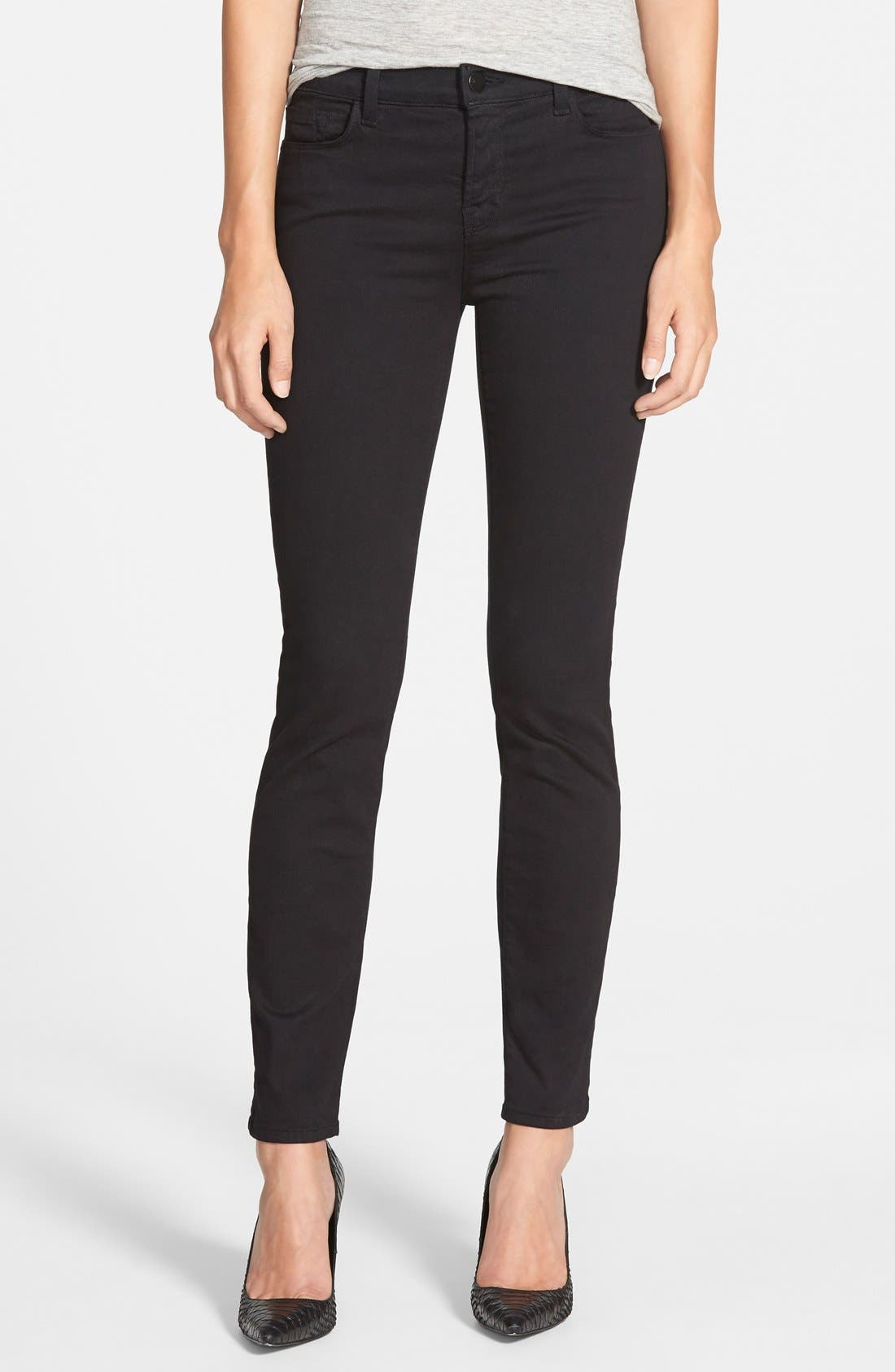 Alternate Image 1 Selected - J Brand '811' Mid Rise Skinny Jeans (Black) (Nordstrom Exclusive)