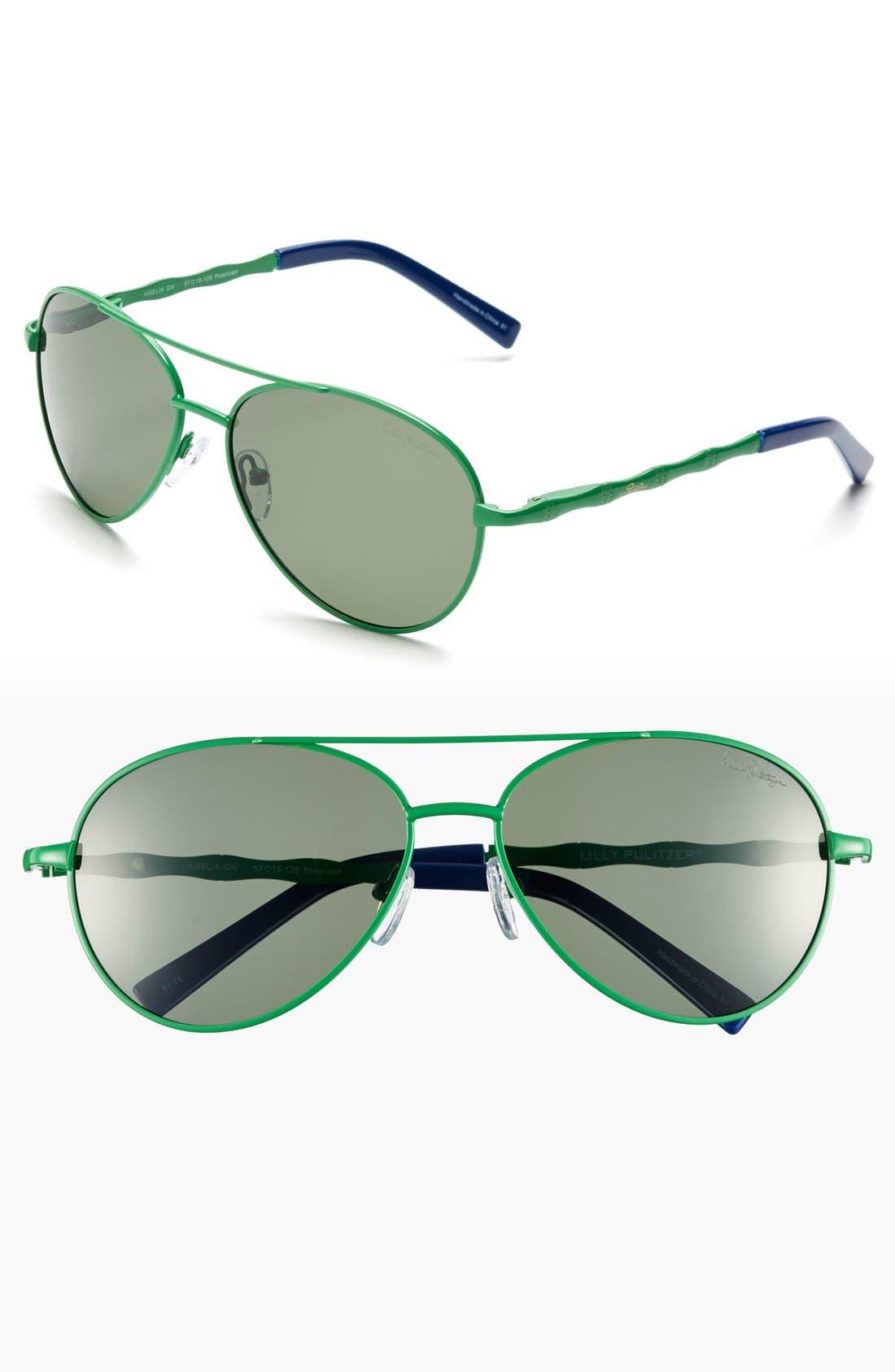 Alternate Image 1 Selected - Lilly Pulitzer® 'Amelia' 57mm Polarized Aviator Sunglasses