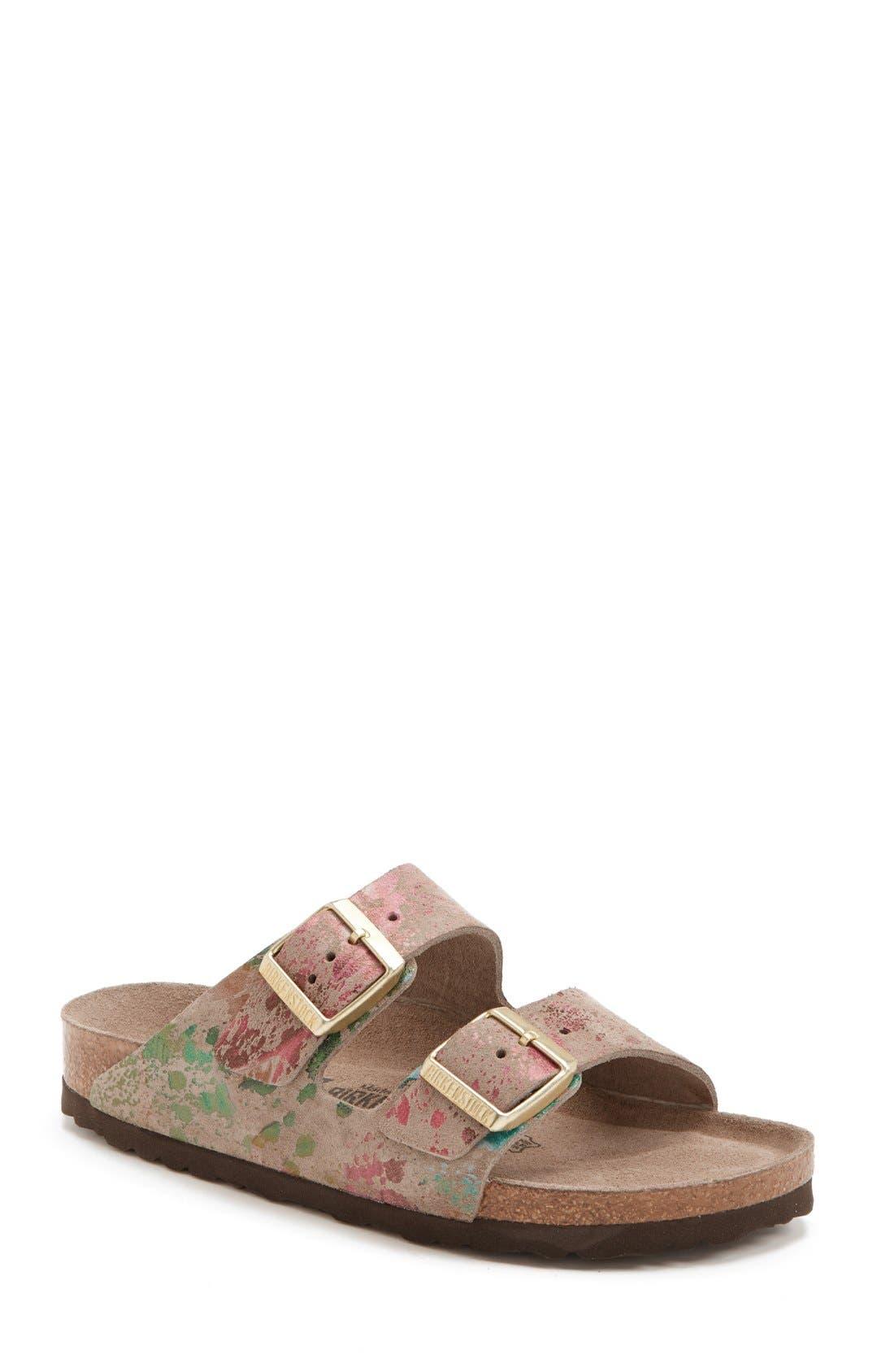 Alternate Image 1 Selected - Birkenstock 'Arizona' Soft Footbed Printed Leather Sandal (Women)