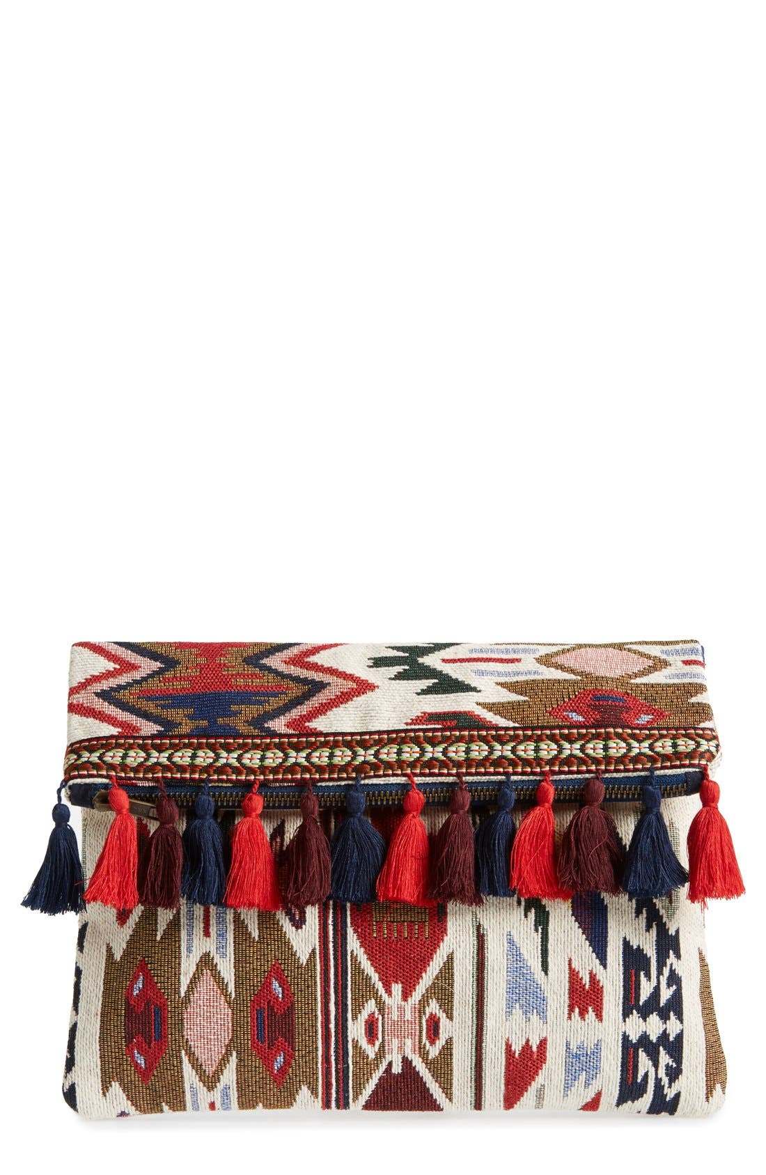 Alternate Image 1 Selected - Sole Society Tassel Geo Foldover Clutch