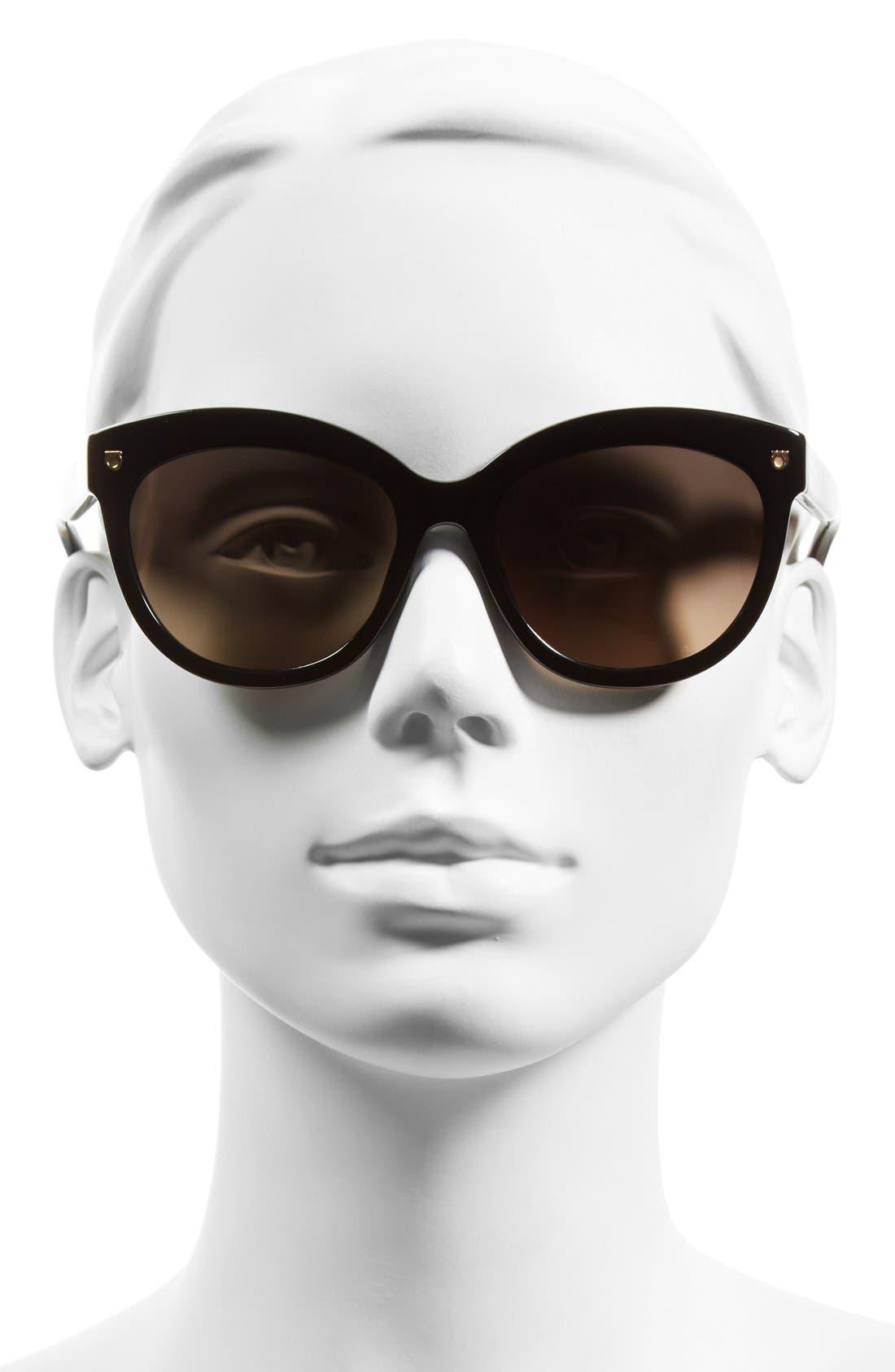 Alternate Image 2  - Salvatore Ferragamo 'Gancino' 55mm Cat Eye Sunglasses