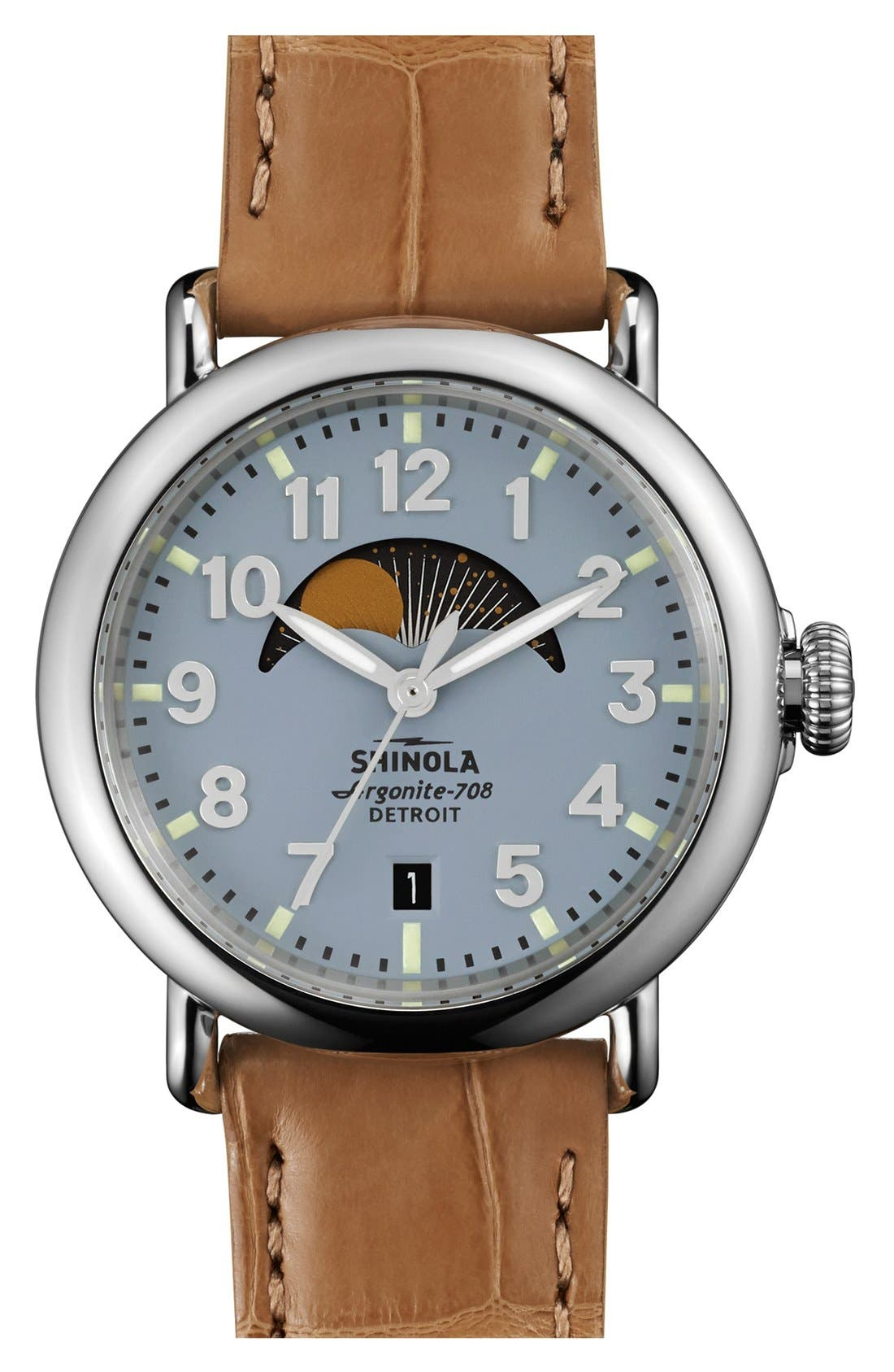 Alternate Image 1 Selected - Shinola 'The Runwell' Moon Phase Leather Strap Watch, 36mm