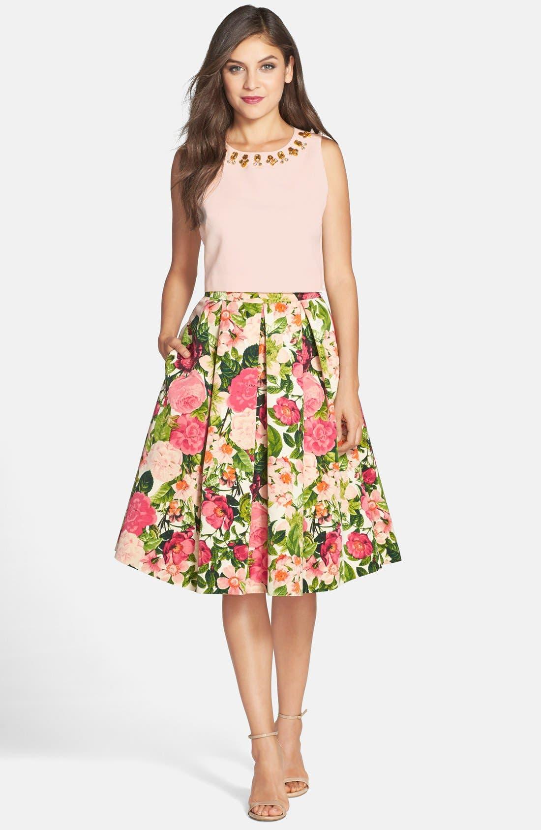 Alternate Image 3  - Eliza J Floral Print Faille Midi Skirt