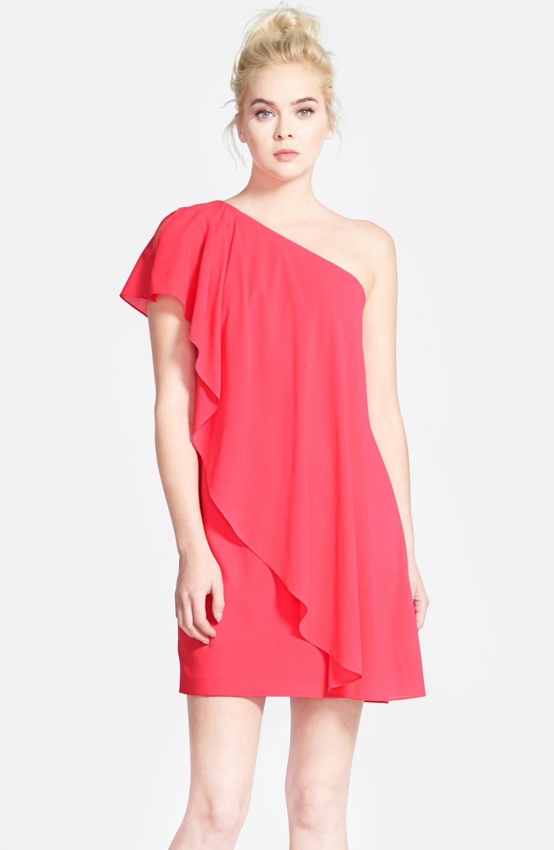 Alternate Image 1 Selected - Aidan by Aidan Mattox One-Shoulder Crepe Dress