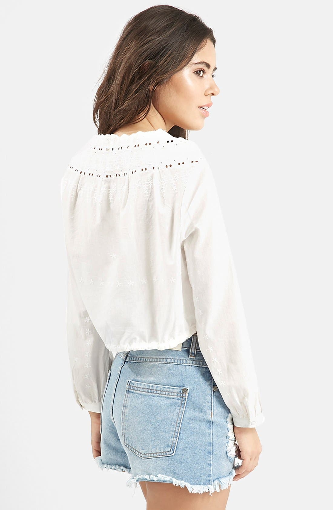 Alternate Image 3  - KENDALL + KYLIE at Topshop Embroidered Surplice Top