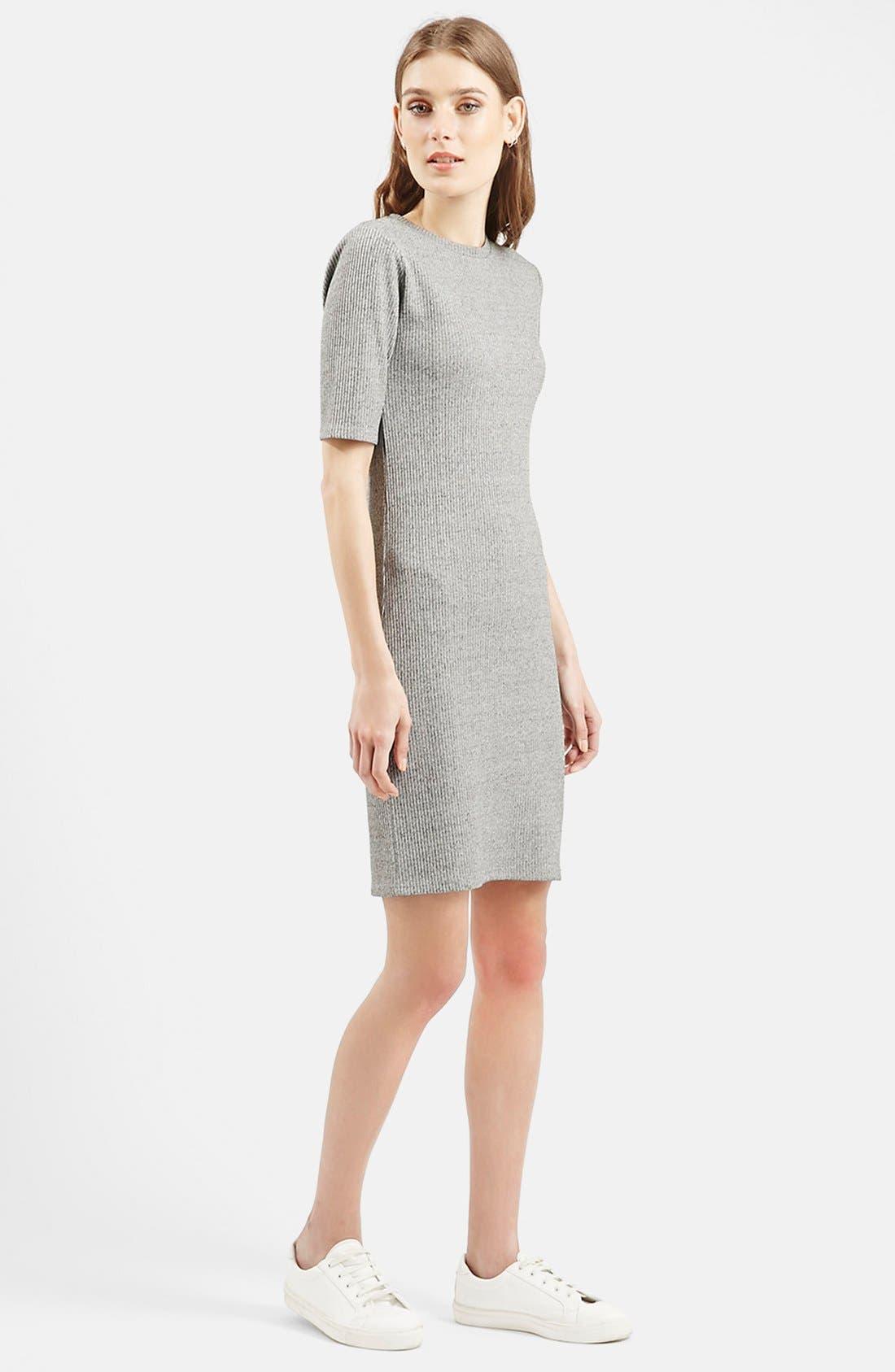 Alternate Image 2  - Topshop Half Sleeve Ribbed Body-Con Dress