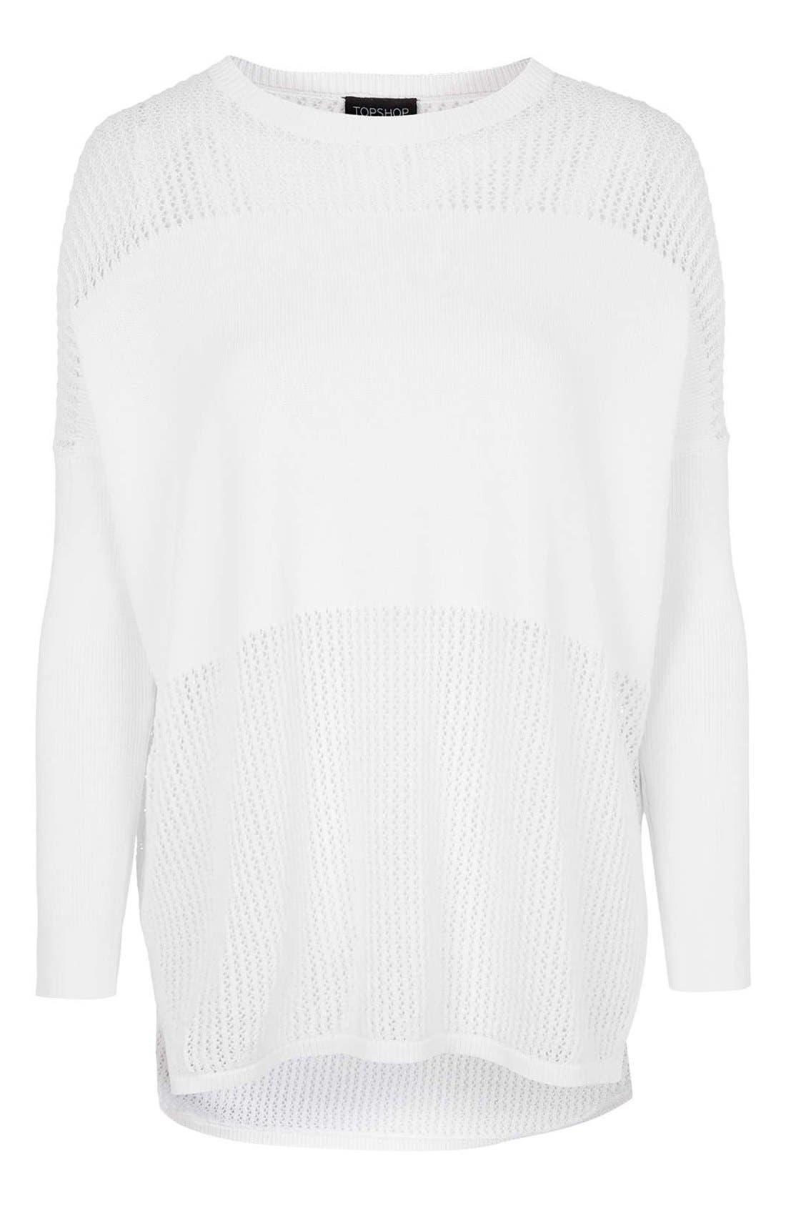 Alternate Image 3  - Topshop Paneled Pointelle Sweater