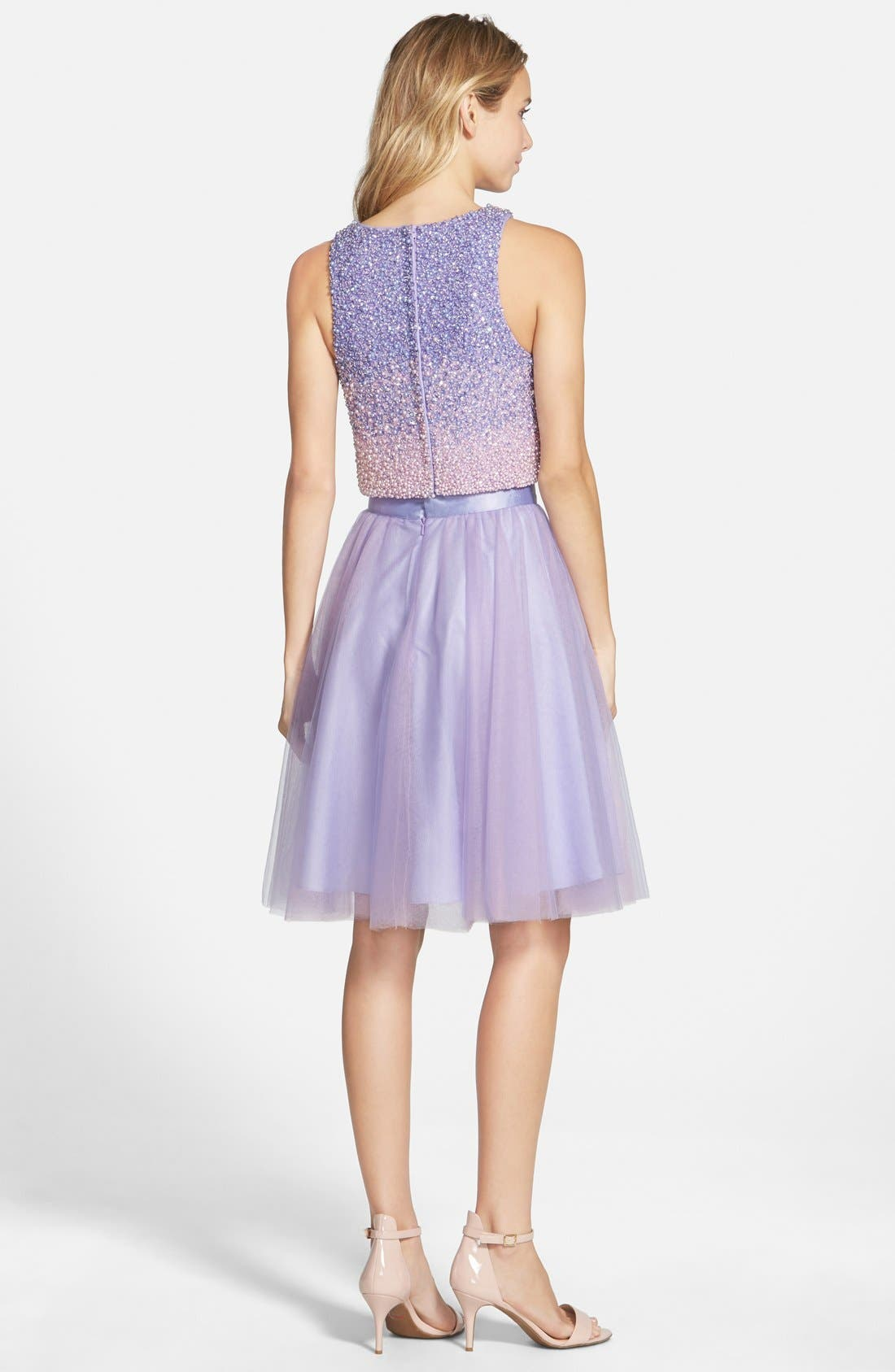 Alternate Image 2  - Glamour by Terani Couture Beaded Top & Tulle Two-Piece Dress