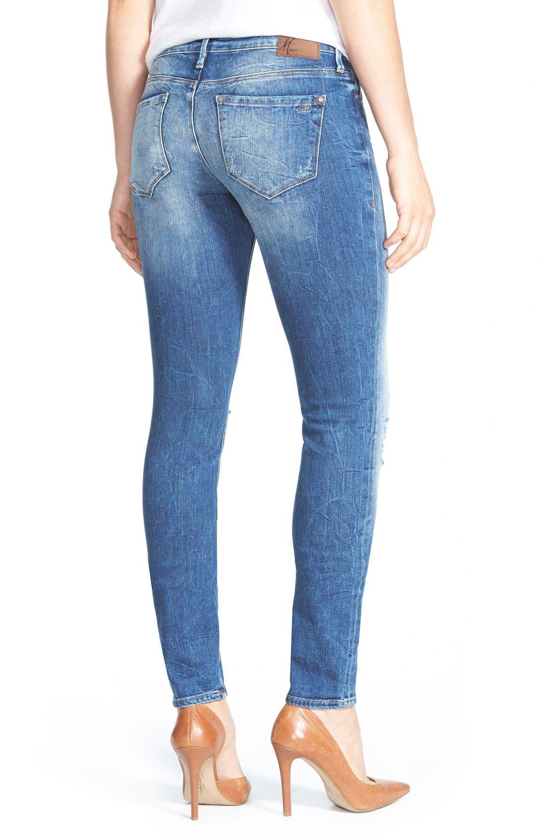 Alternate Image 2  - Mavi Jeans 'Alexa' Distressed Stretch Skinny Jeans (Mid Patched Vintage)