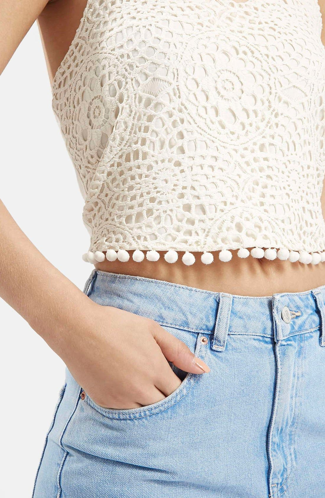 Alternate Image 4  - Topshop Crochet Halter Neck Top