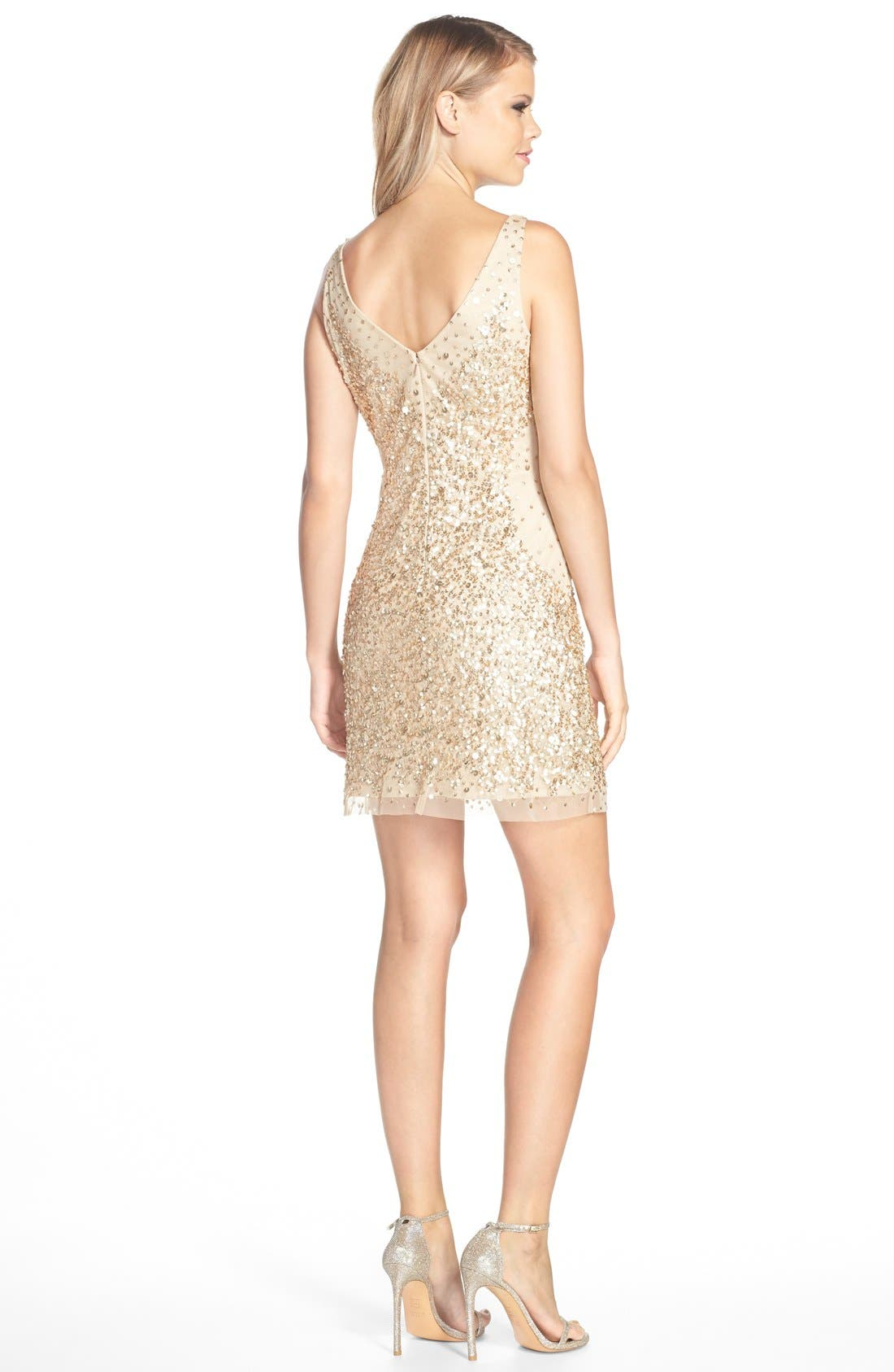 Alternate Image 2  - Adrianna Papell Sequin Tulle Sheath Dress