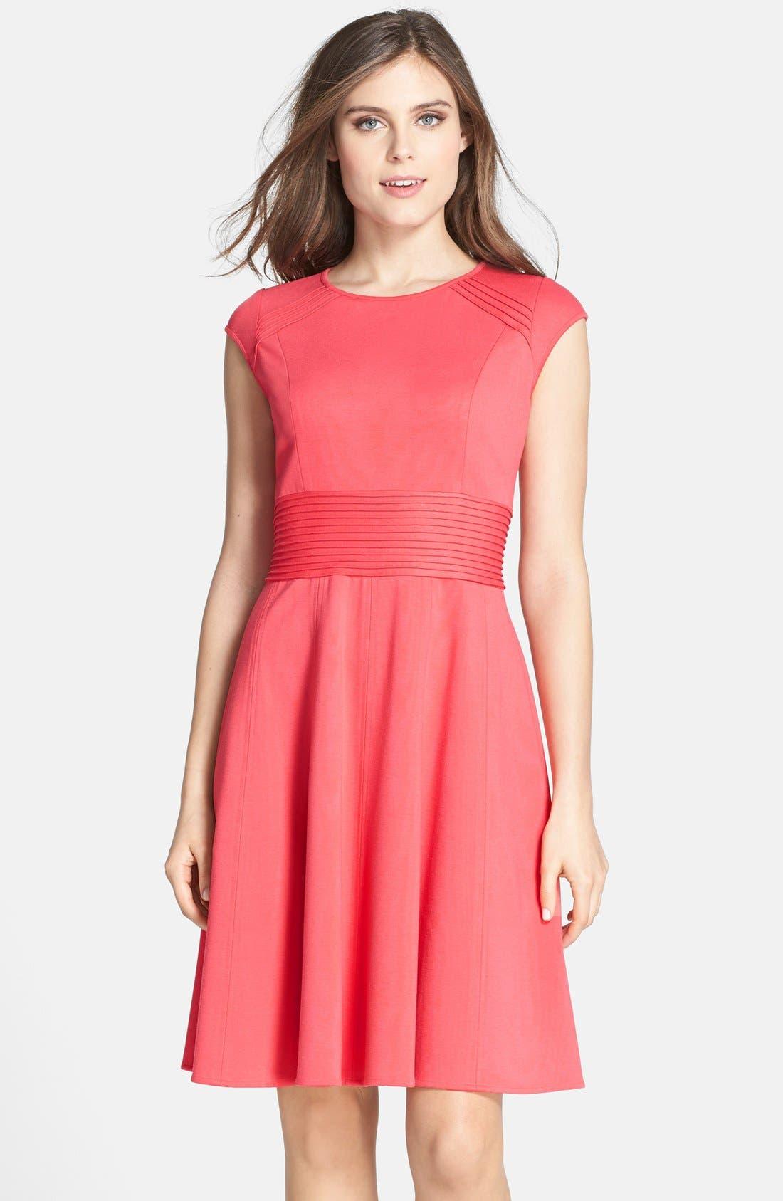 Main Image - Eliza J Pintucked Waist Seamed Ponte Knit Fit & Flare Dress