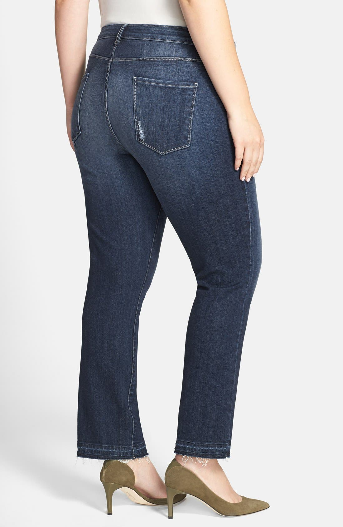 Alternate Image 2  - KUT from the Kloth 'Reese' Released Hem Distressed Stretch Ankle Jeans (Hard) (Plus Size)