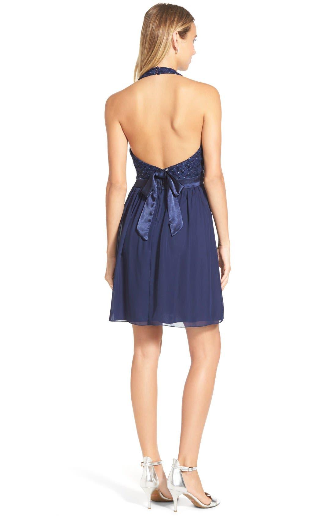 Alternate Image 2  - Speechless Bow Back Lace Halter Dress